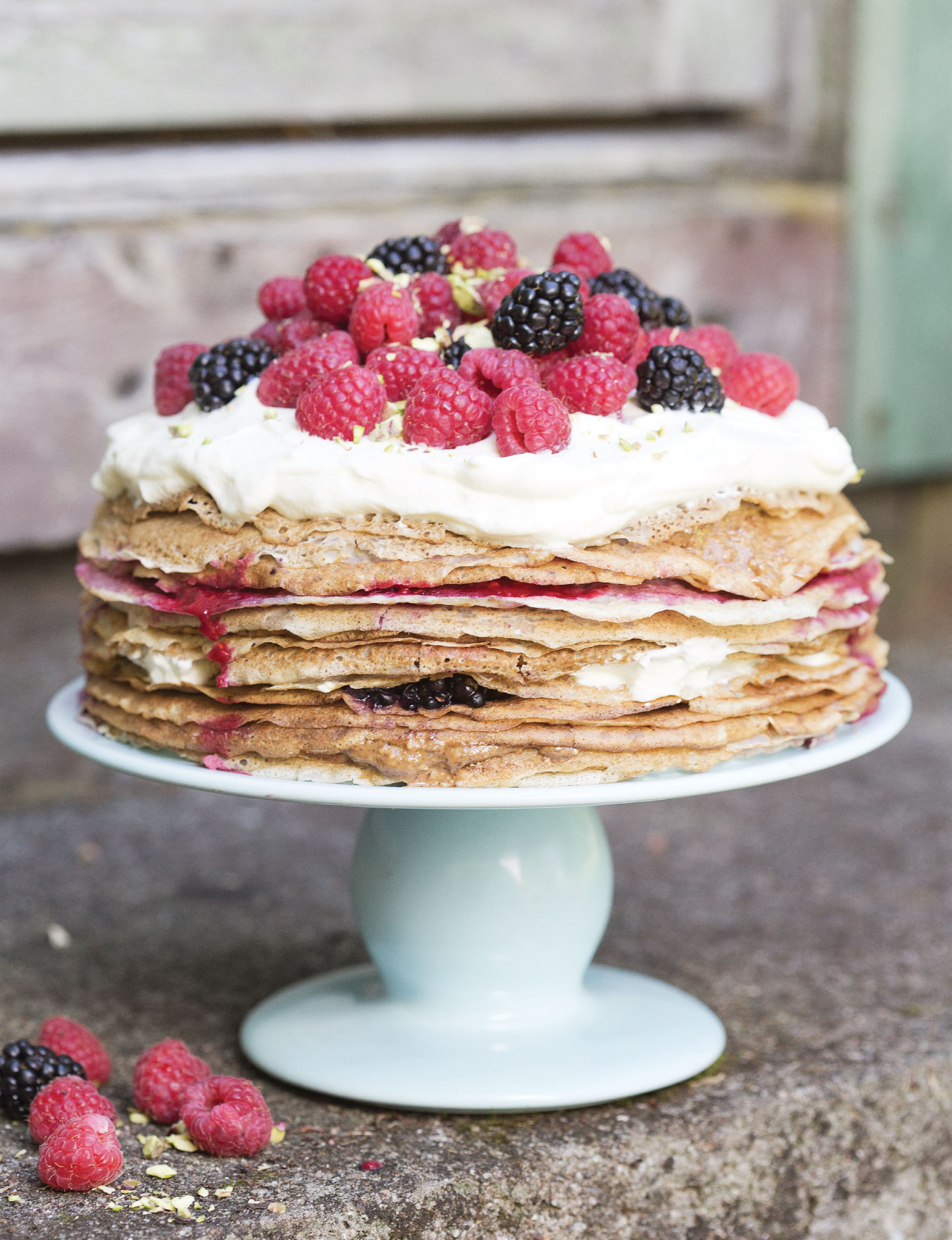 Summer berry pancake cake