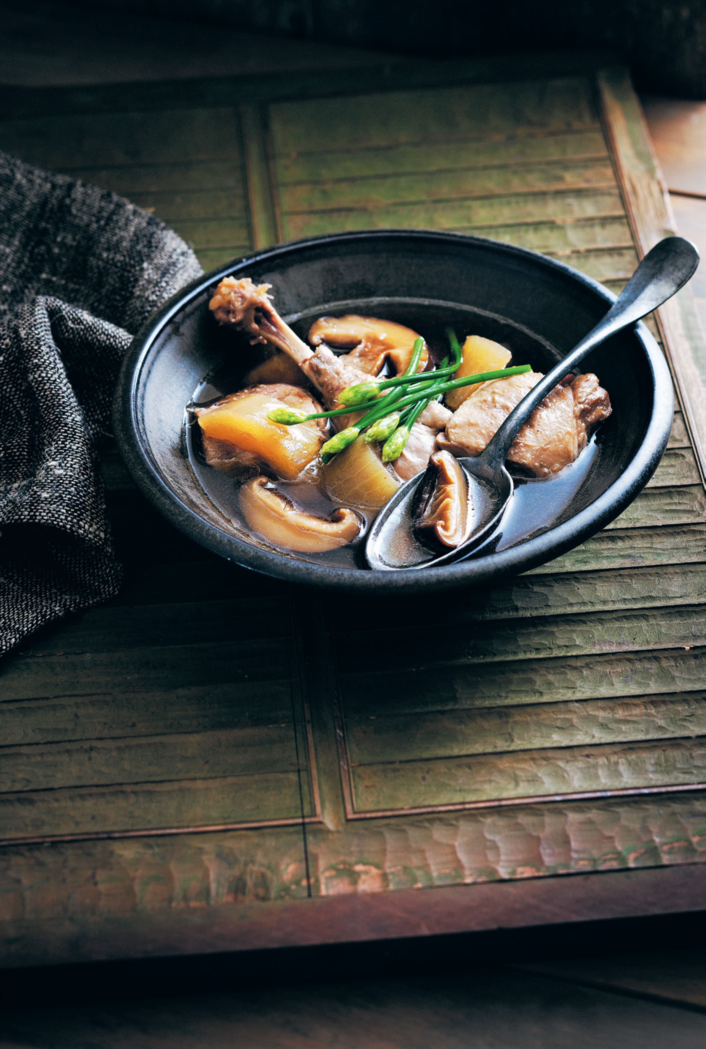Steamed duck, winter melon and shiitake mushroom soup