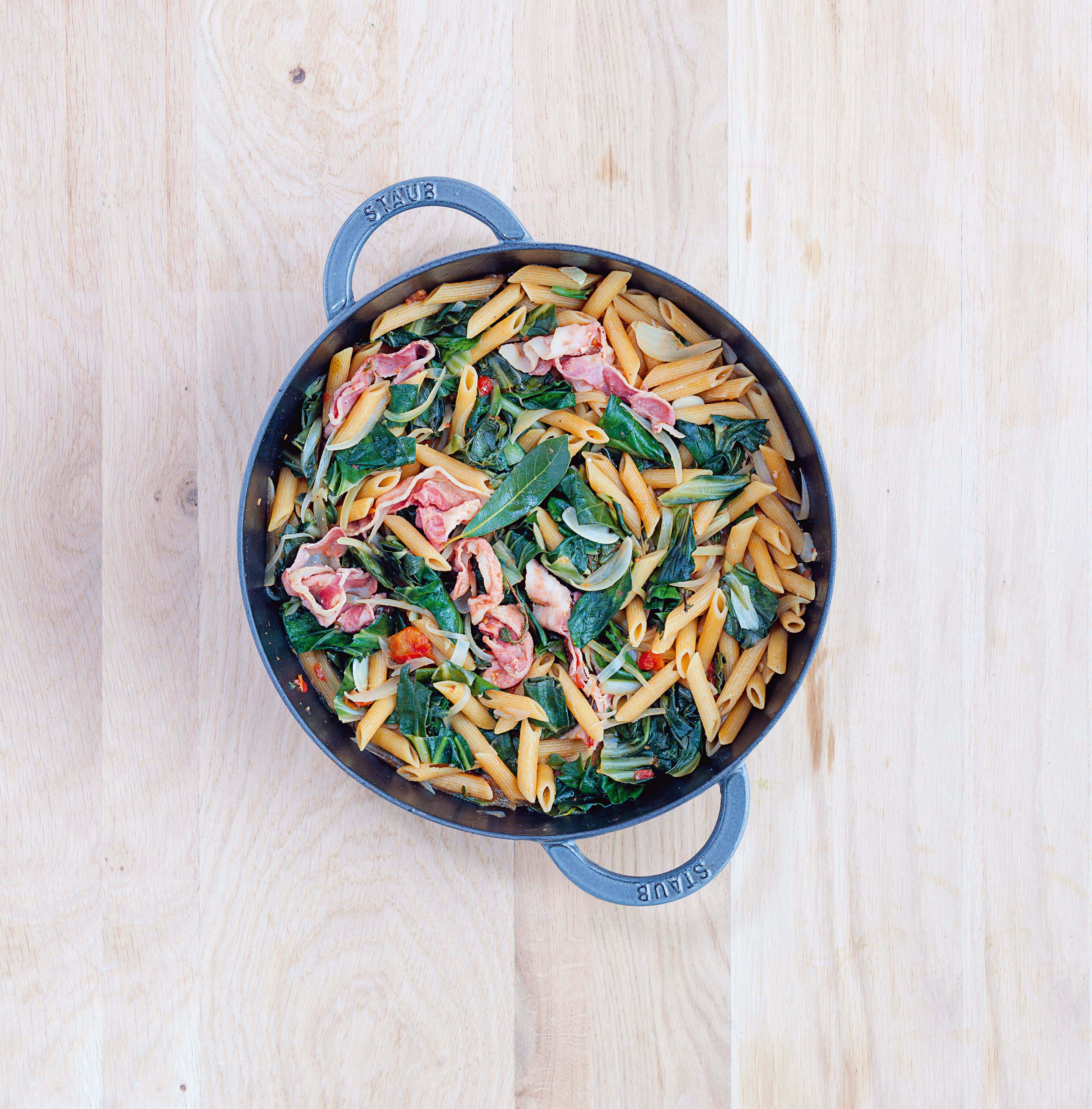 Swiss chard and smoked streaky bacon