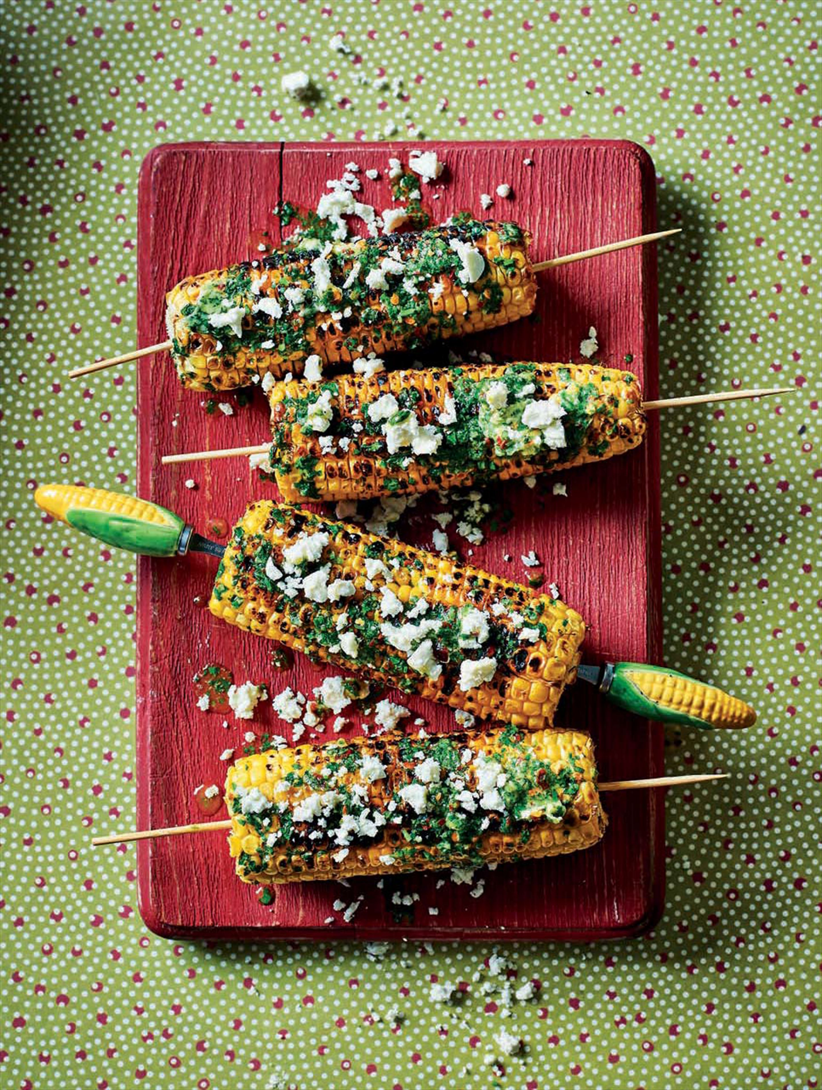 Lime, chilli & cheese corn skewers
