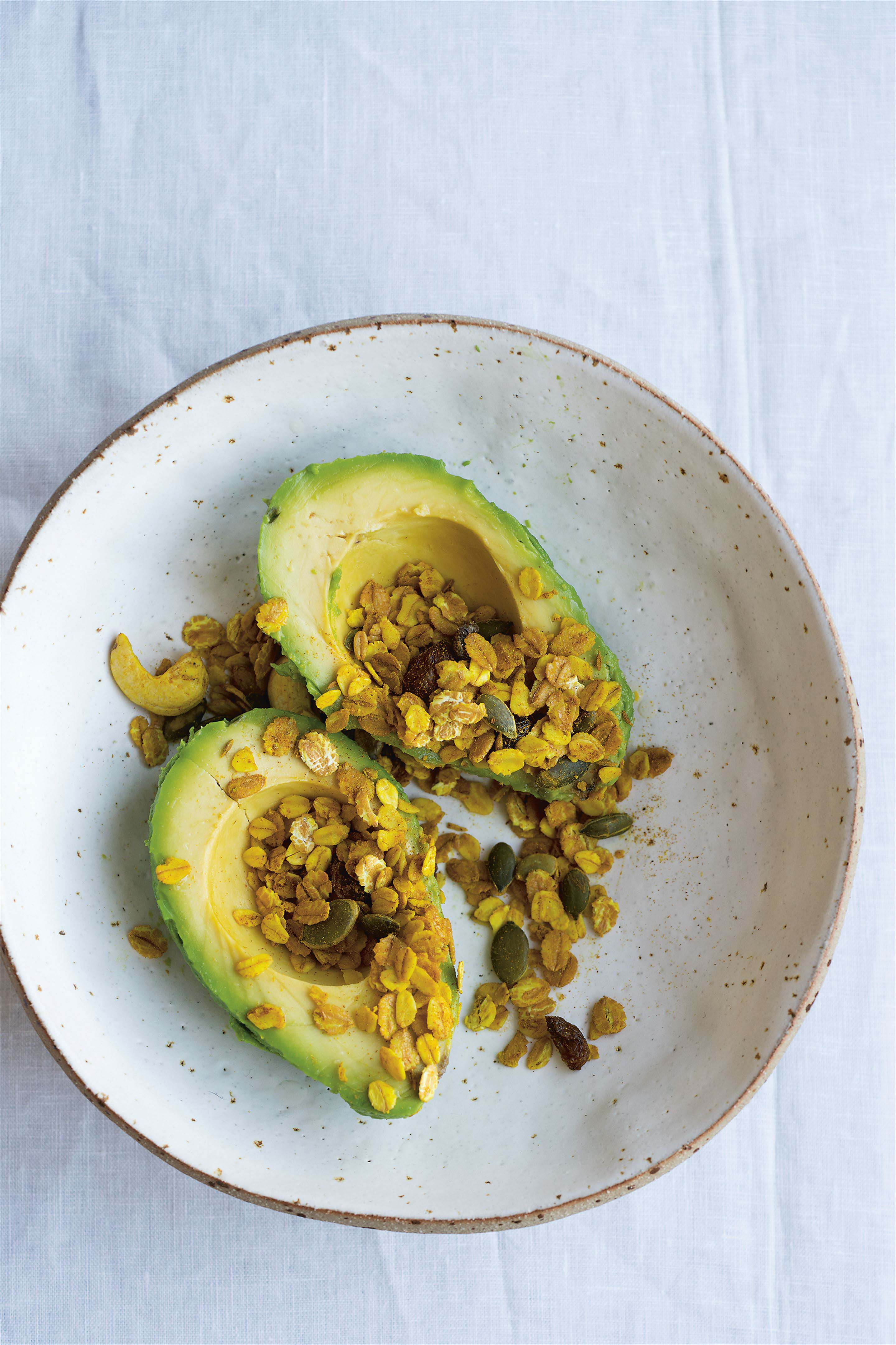 Avocado with savoury granola crunch