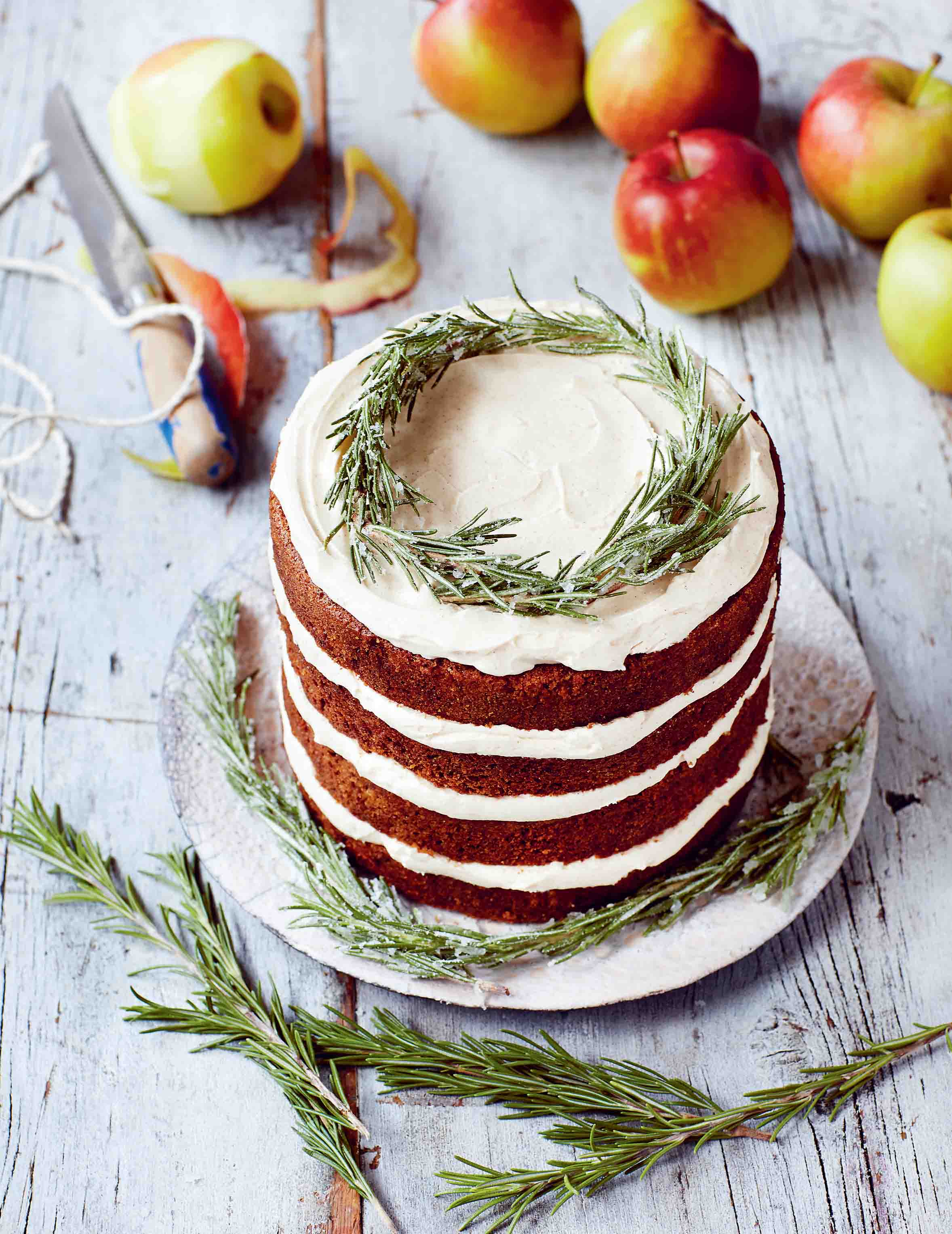 Apple, parsnip and rosemary syrup cake