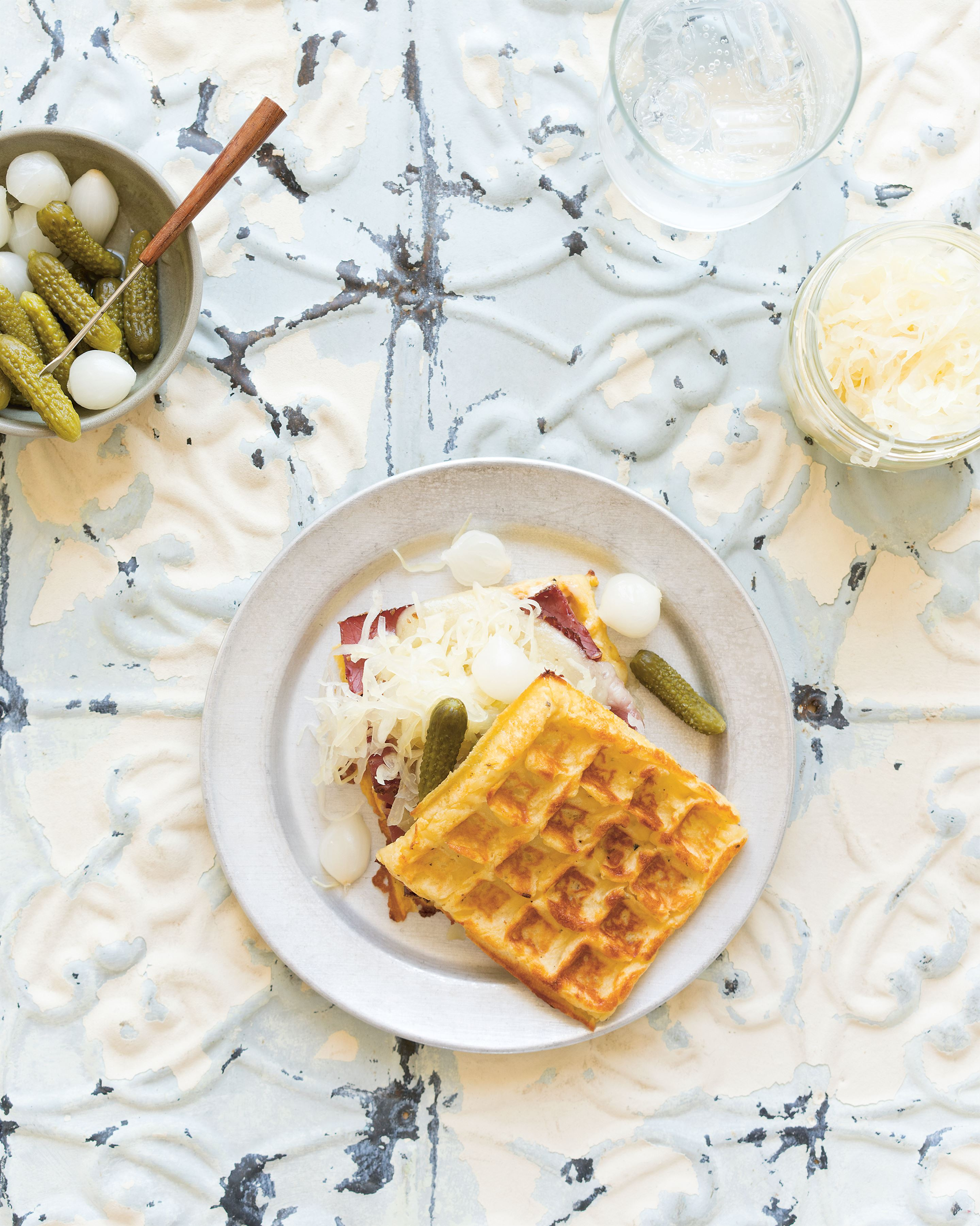 Potato waffles with pastrami & sauerkraut