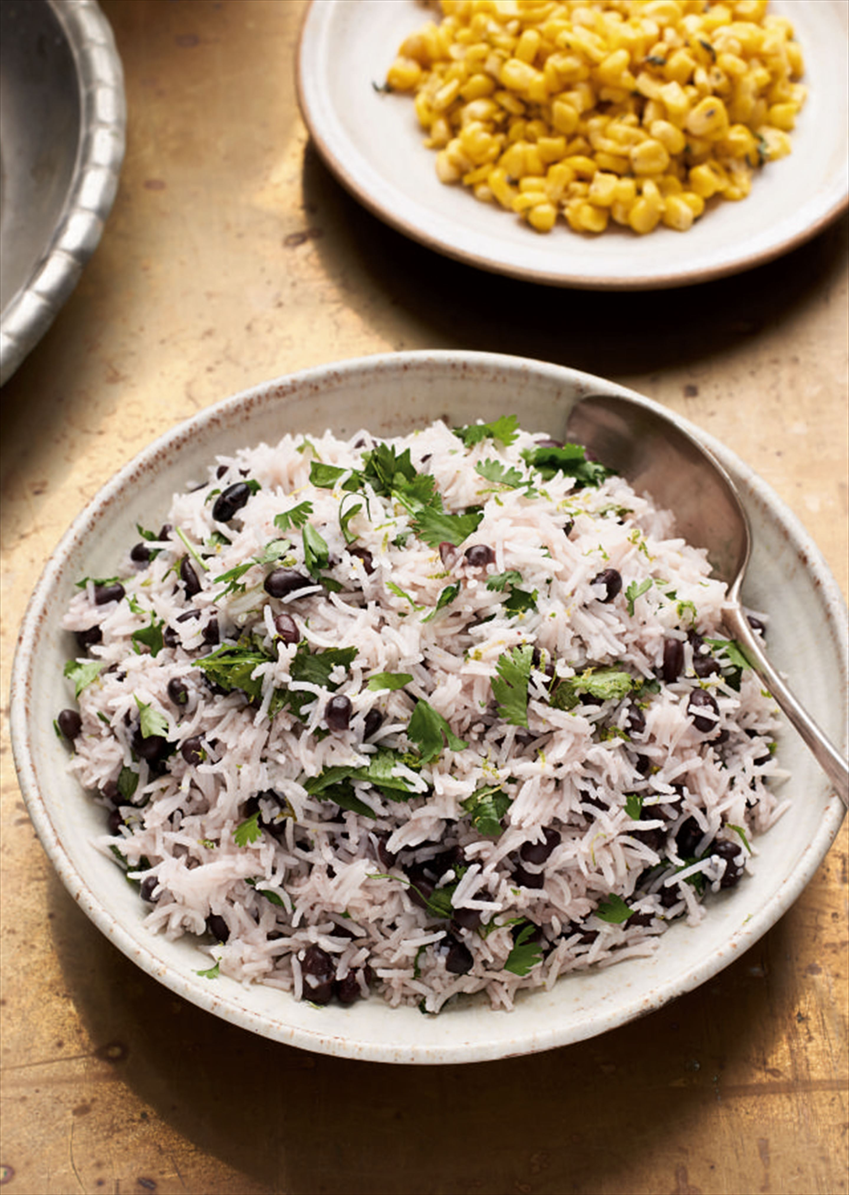 Black bean, coriander and lime rice