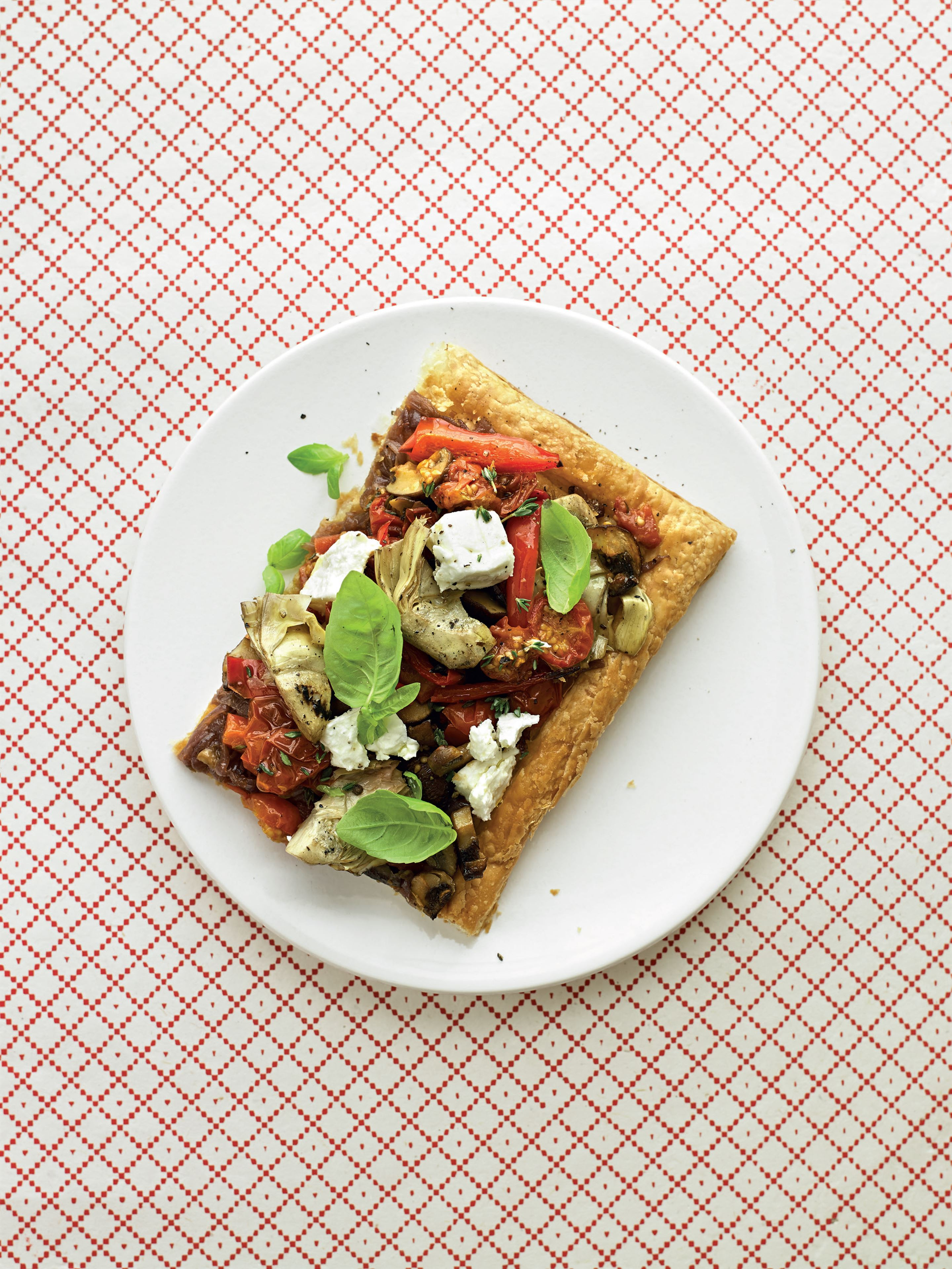Med veg and feta tart with onion and fennel jam