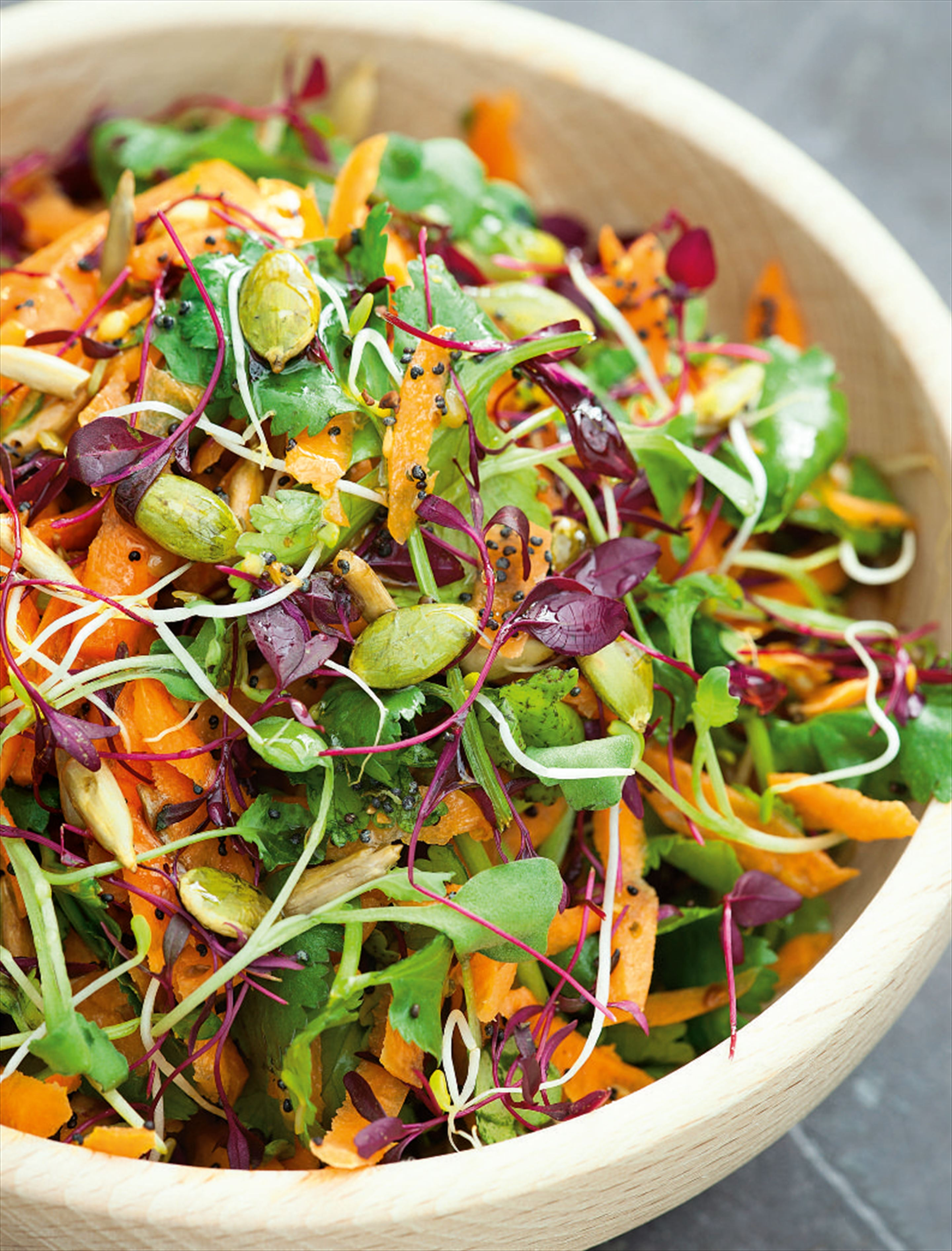 Carrot and sprouted alfalfa/broccoli salad
