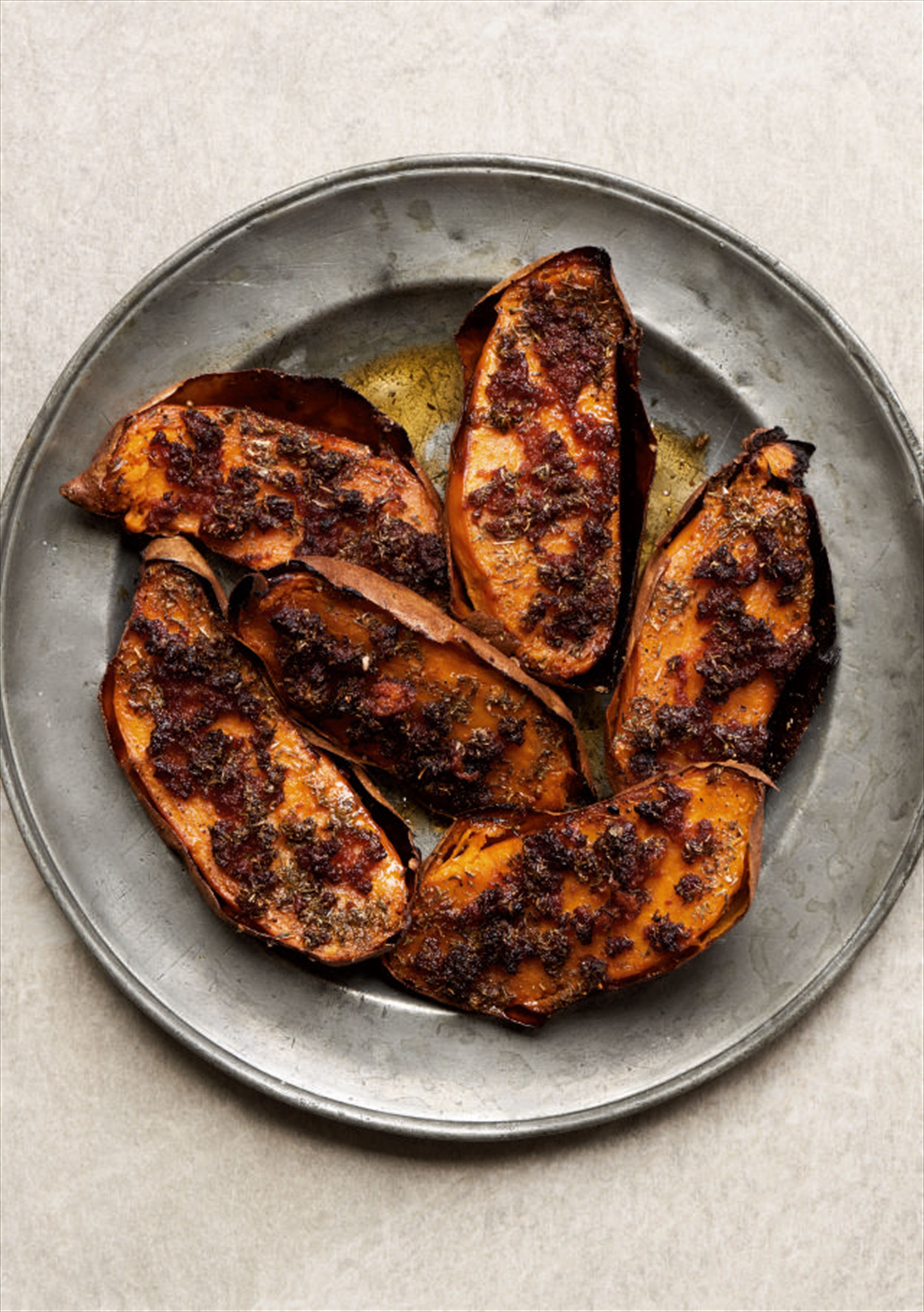 Scorched sweet potatoes with sobrasada butter