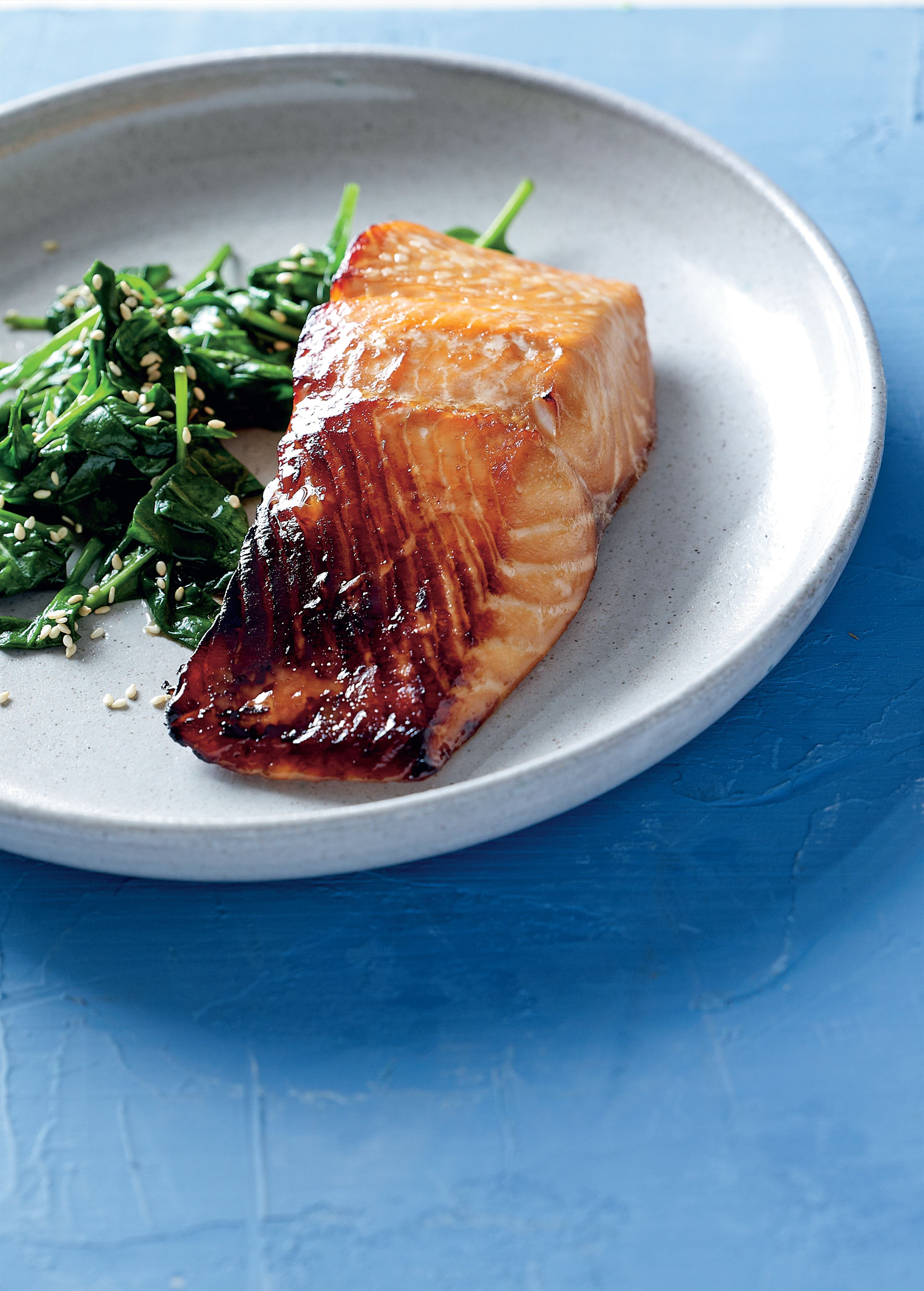 Teriyaki salmon with wilted spinach