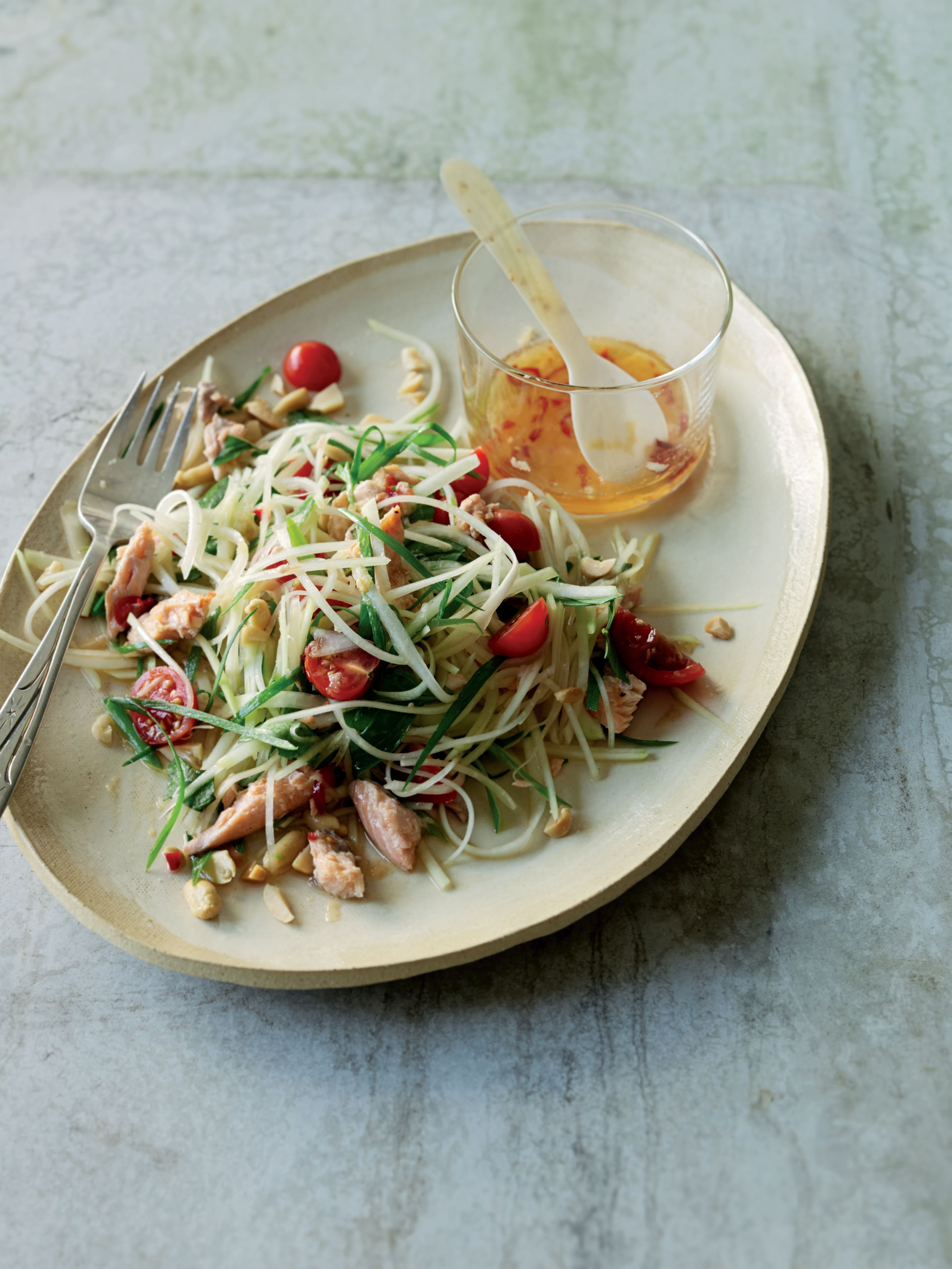 Thai green papaya salad with trout