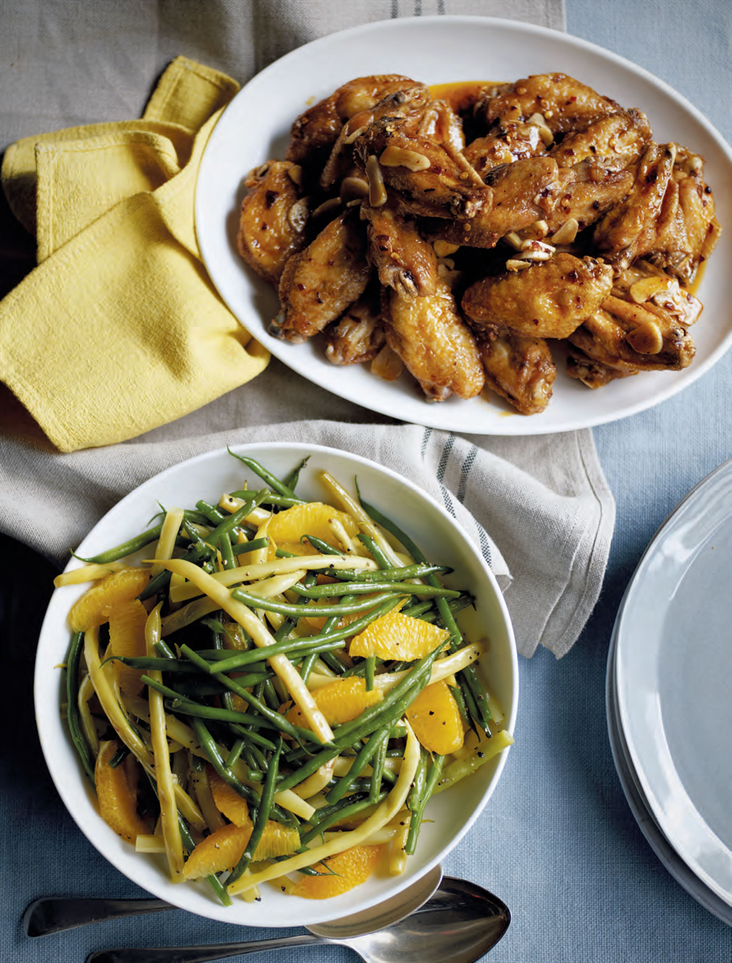 Spicy chicken with orange & green bean salad
