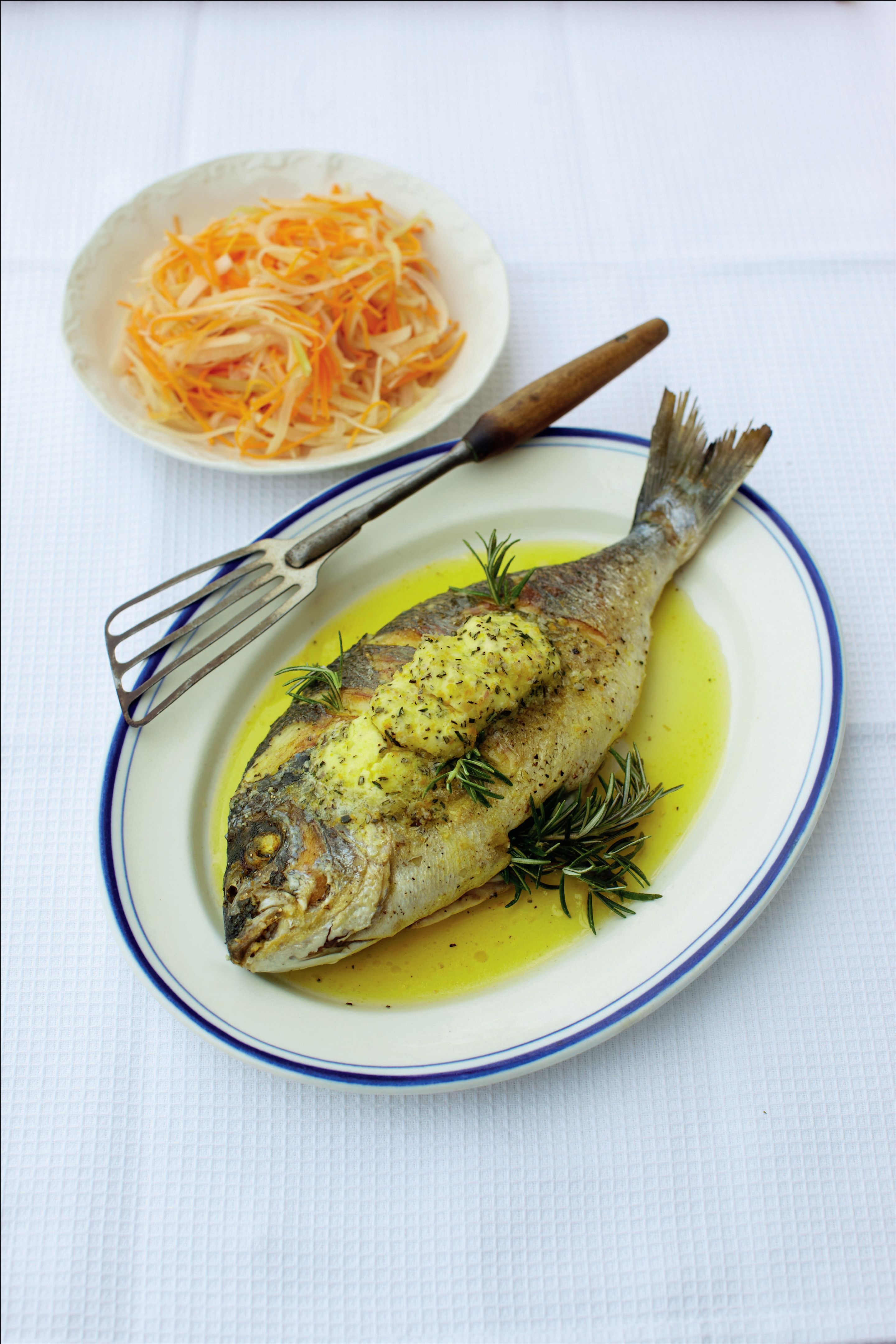 Roasted bream with rosemary and orange butter