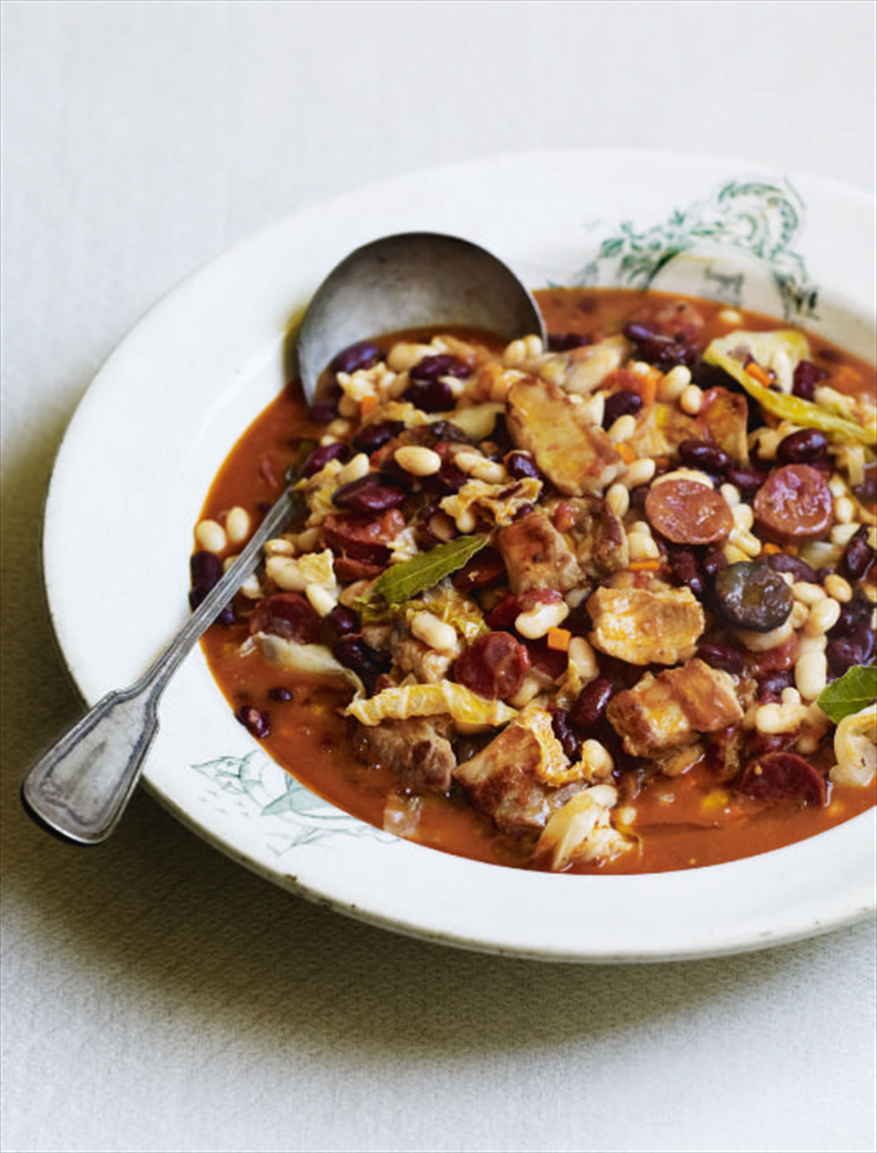 Slow-simmered bean, cabbage and pork stew