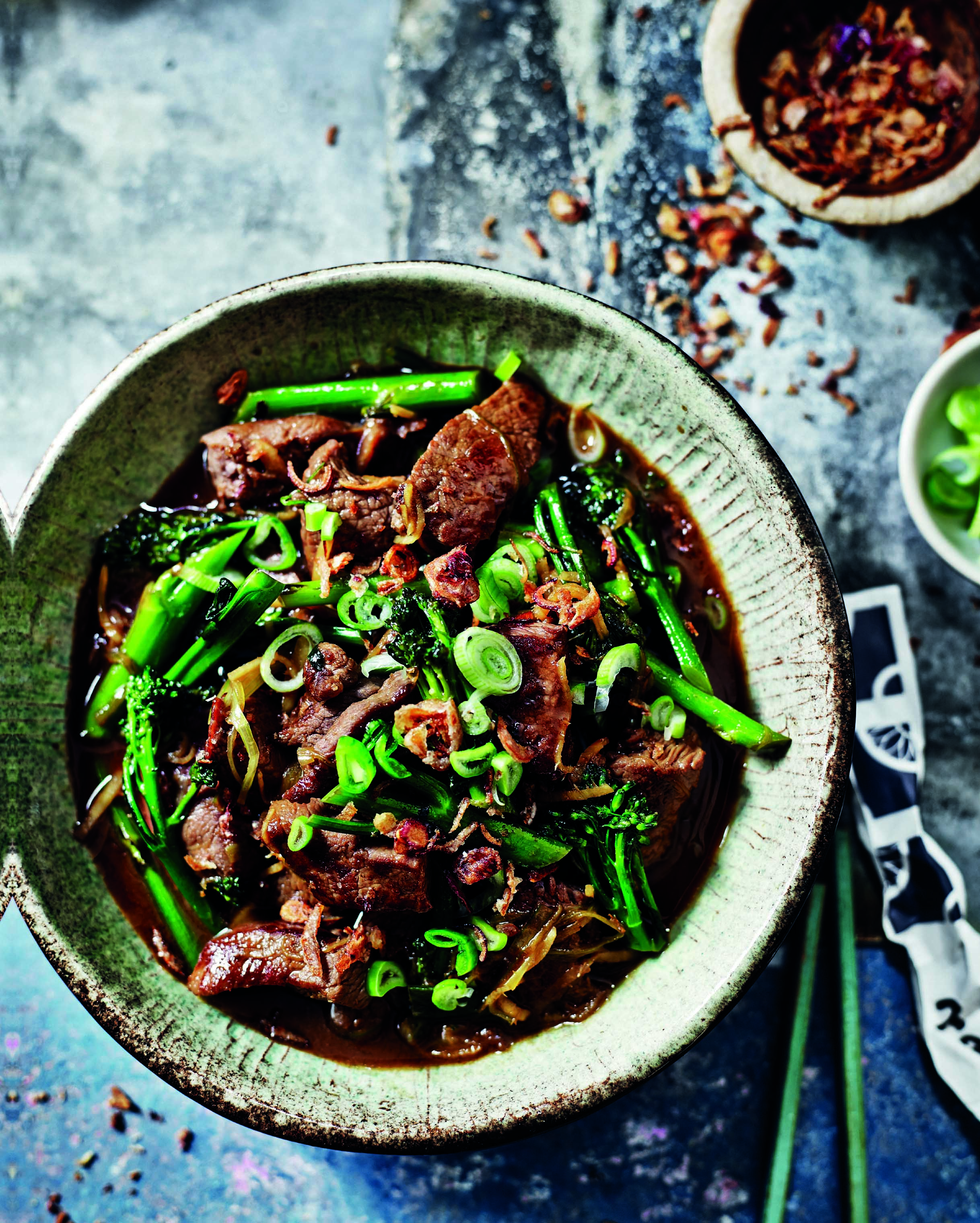 Flash-fried venison and broccoli with ginger and spring onion