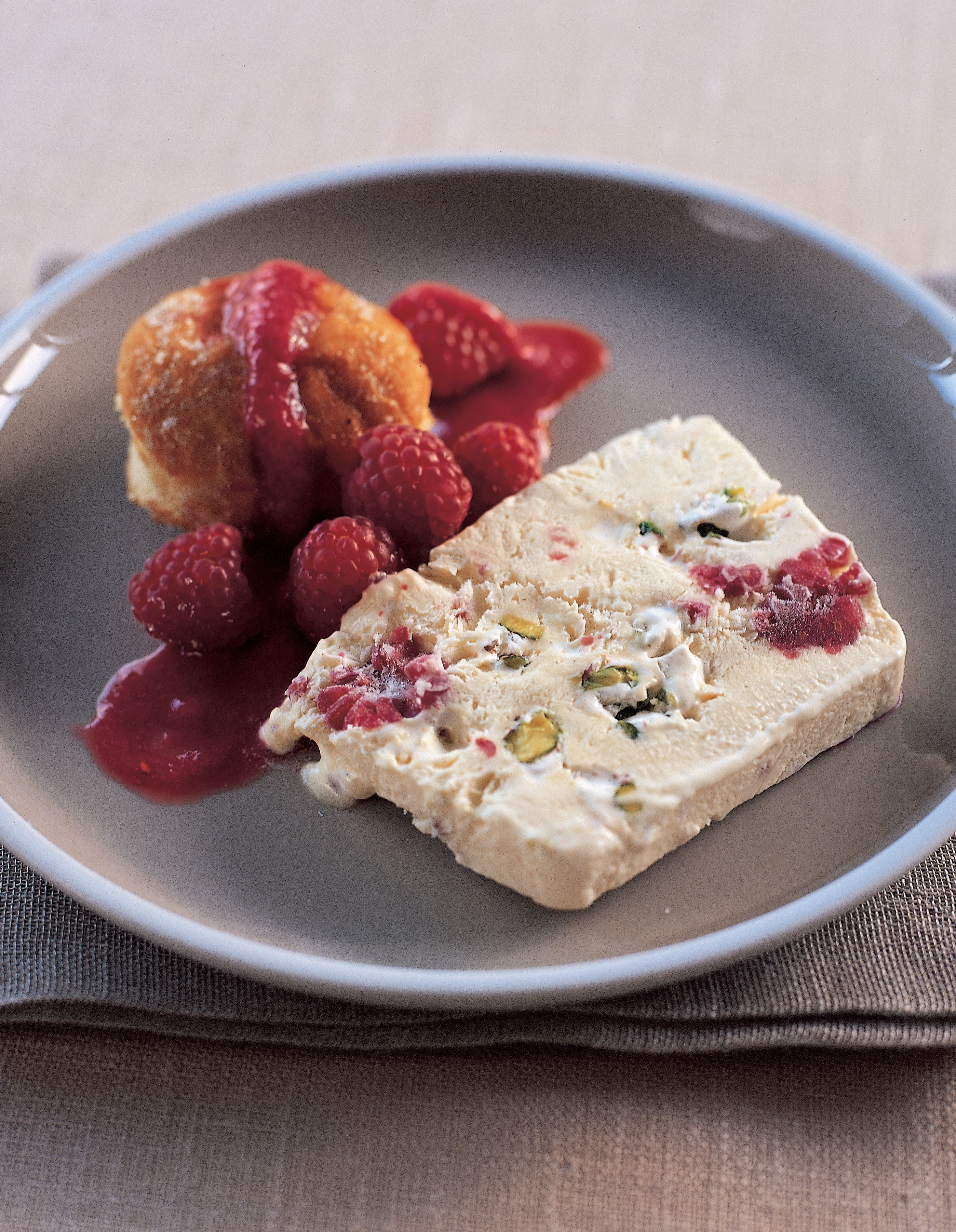Raspberry and nougat semifreddo