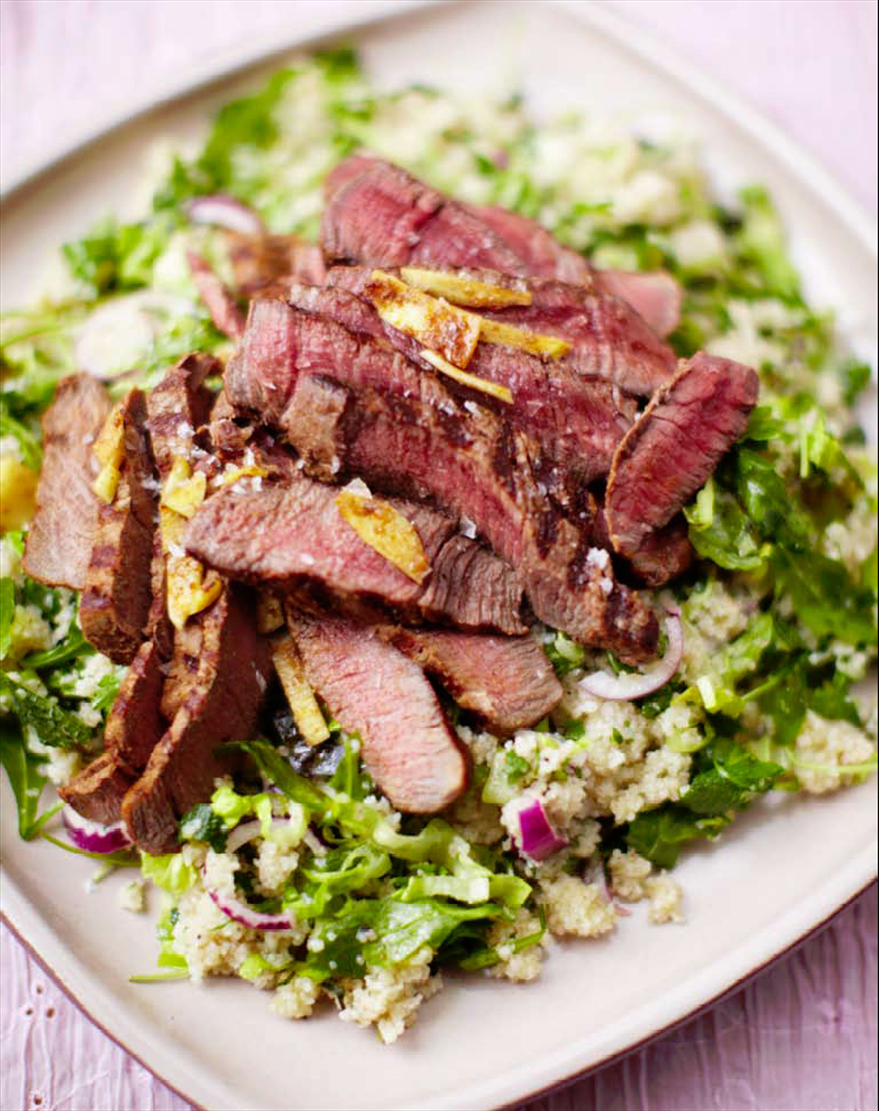 Beef & barley couscous salad