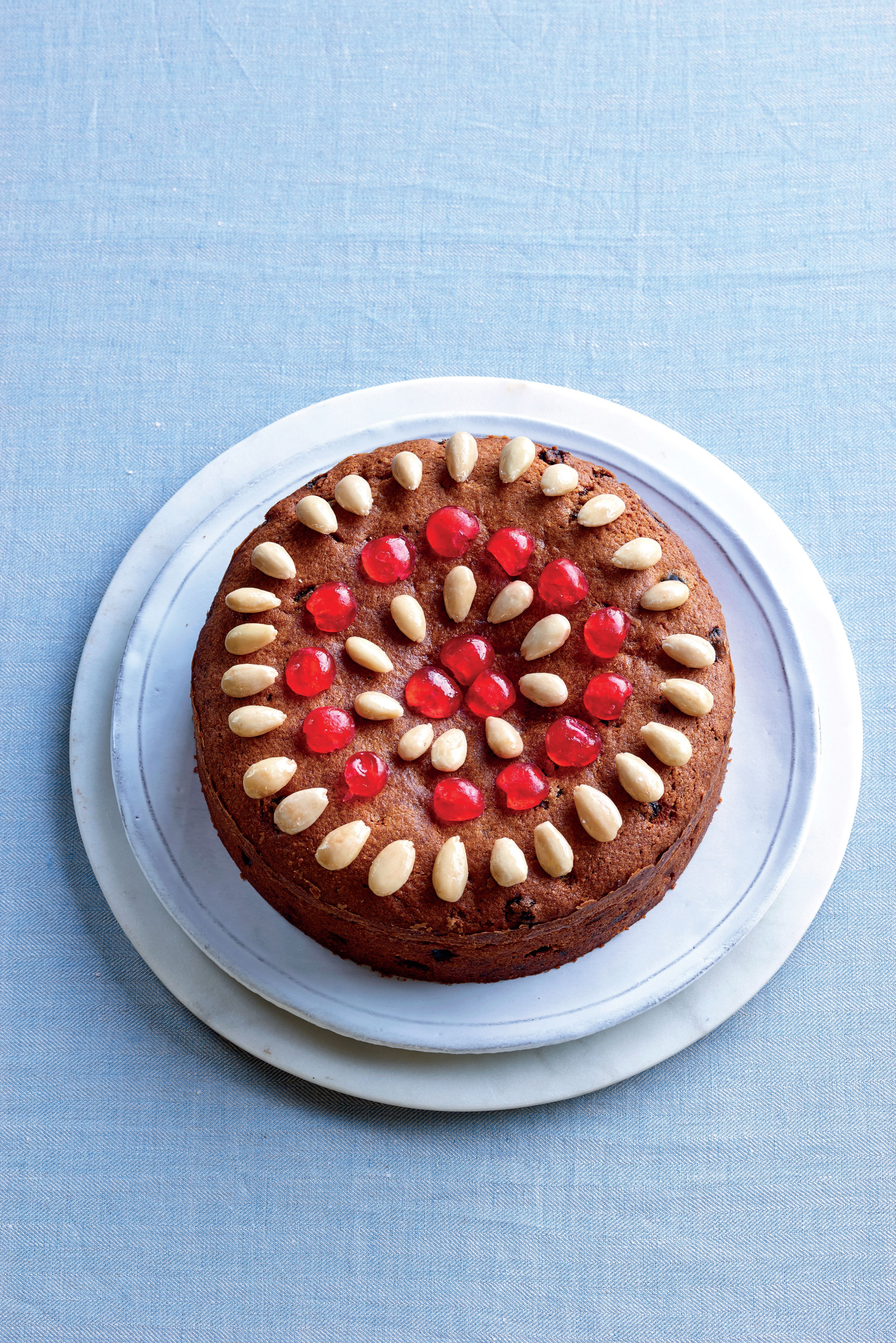 Glacé fruit and nut cake