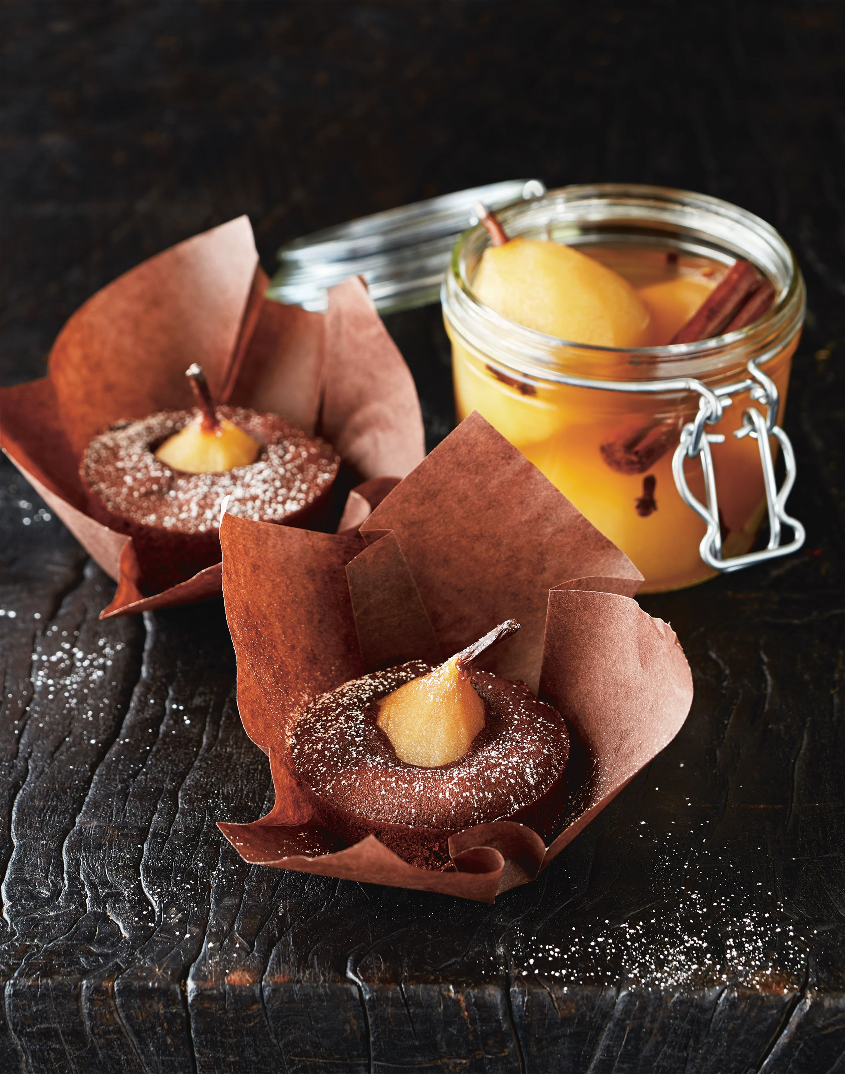 Spiced pear and chocolate cakes