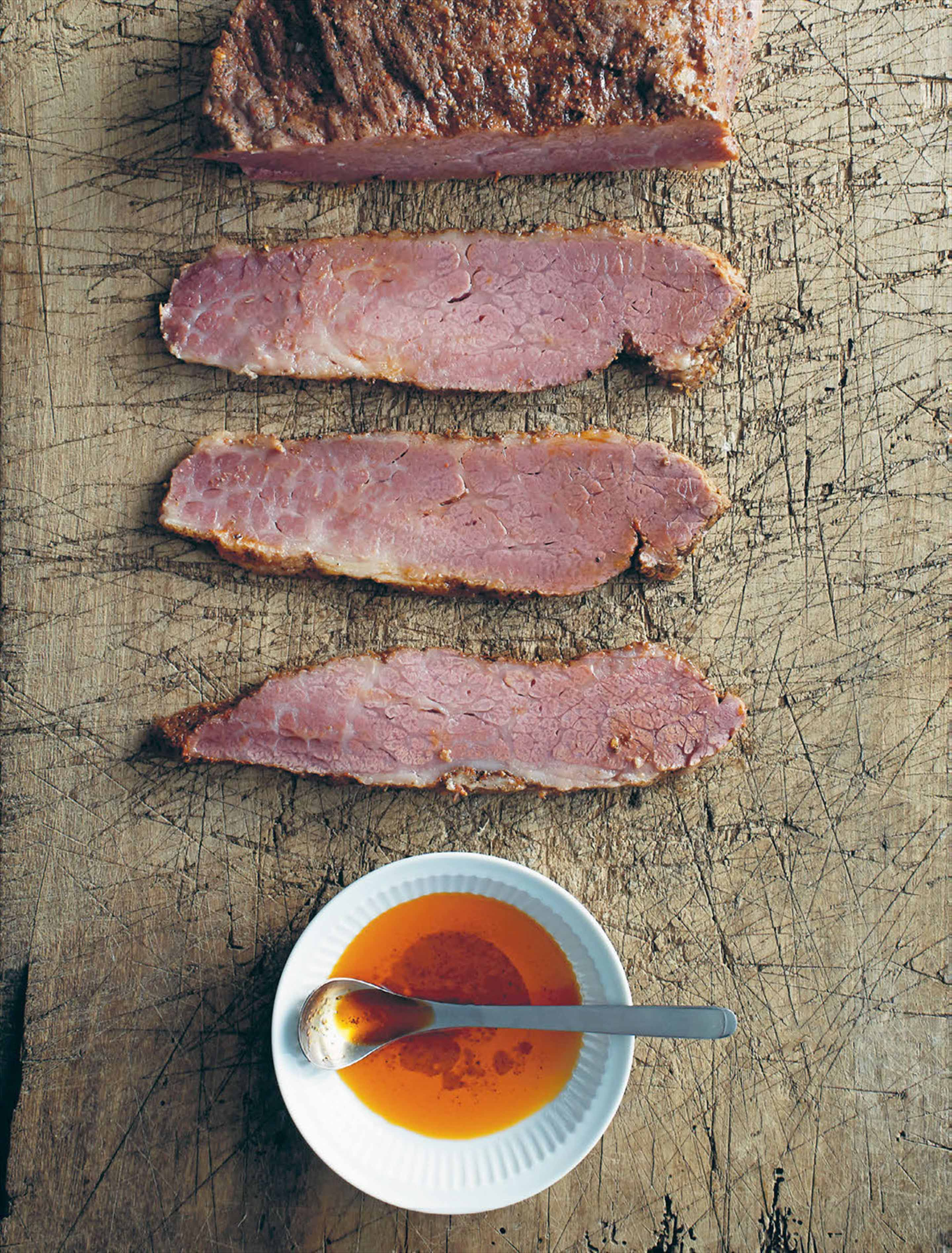 Spicy pastrami with chilli oil dressing