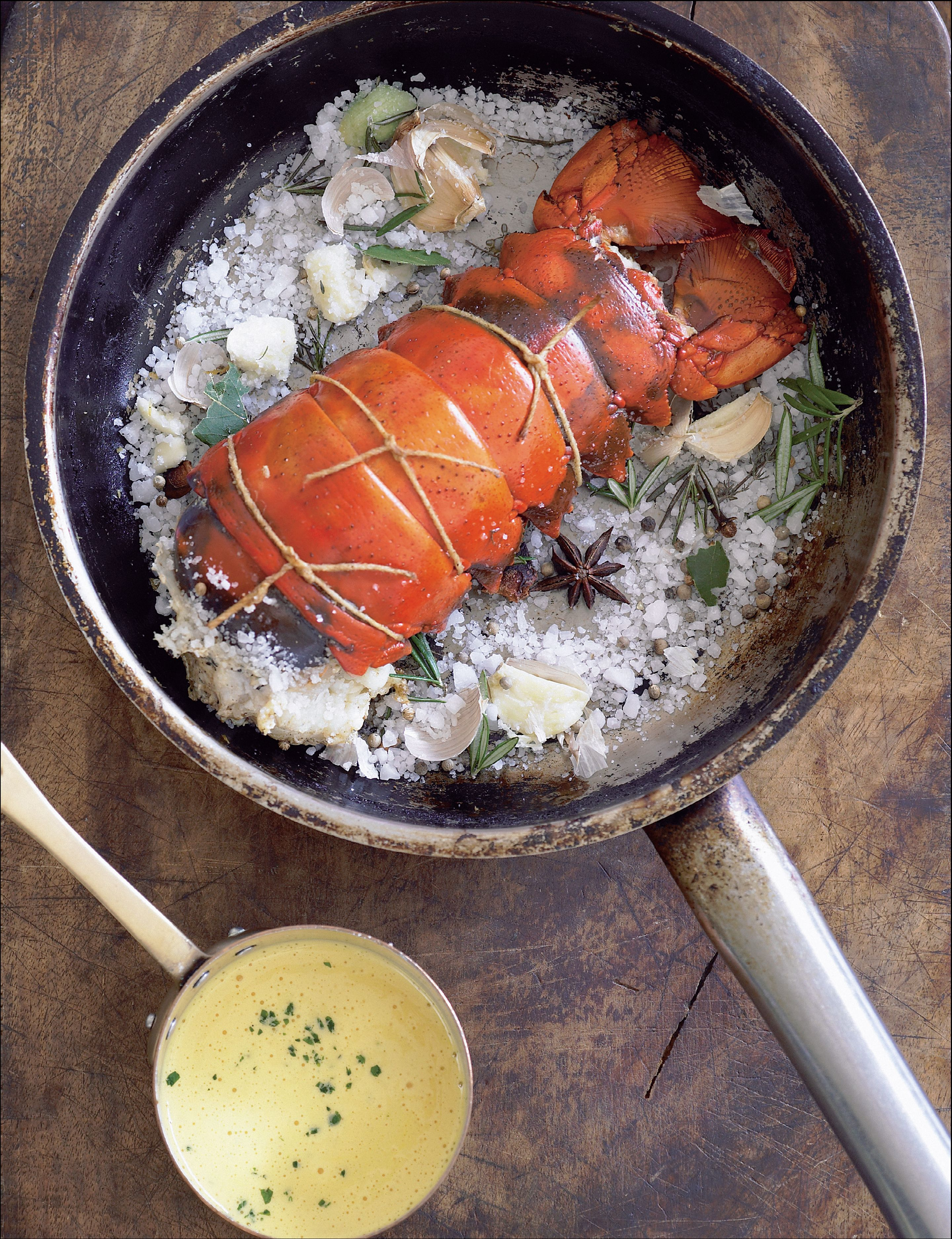 Lobster tail roasted on aromatics