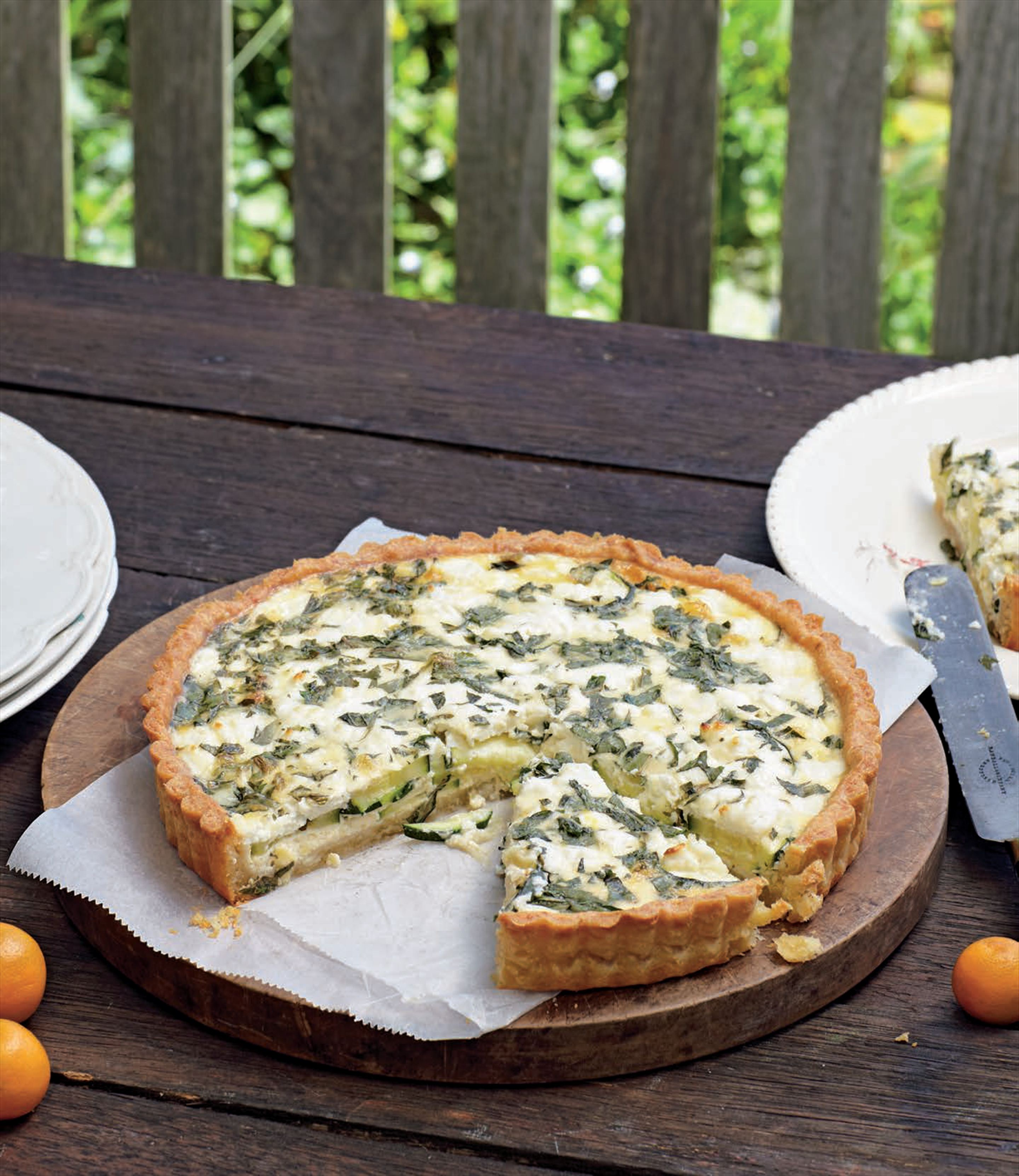 Zucchini, mint & goat's cheese quiche
