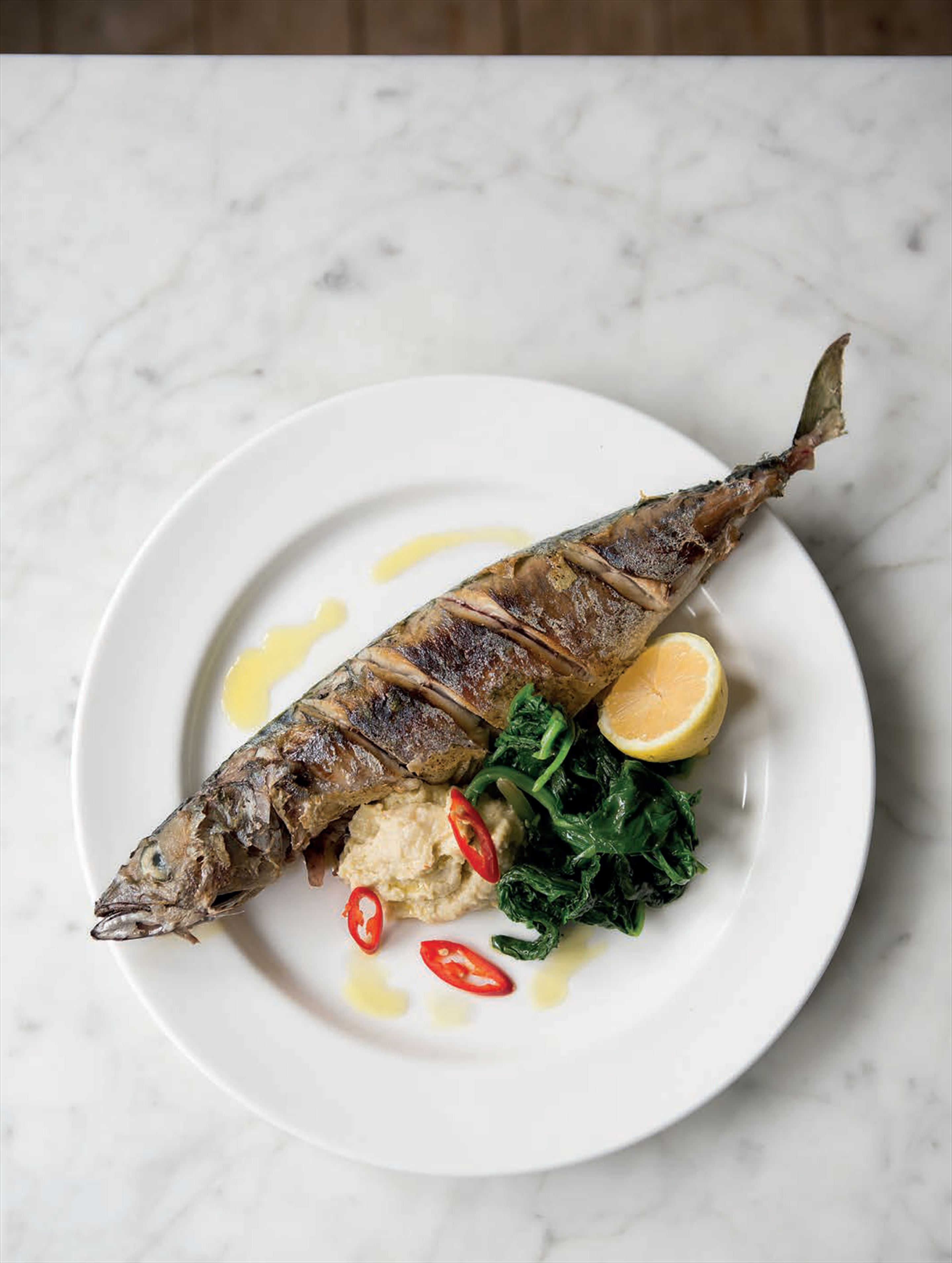 Mackerel with bread and almond sauce