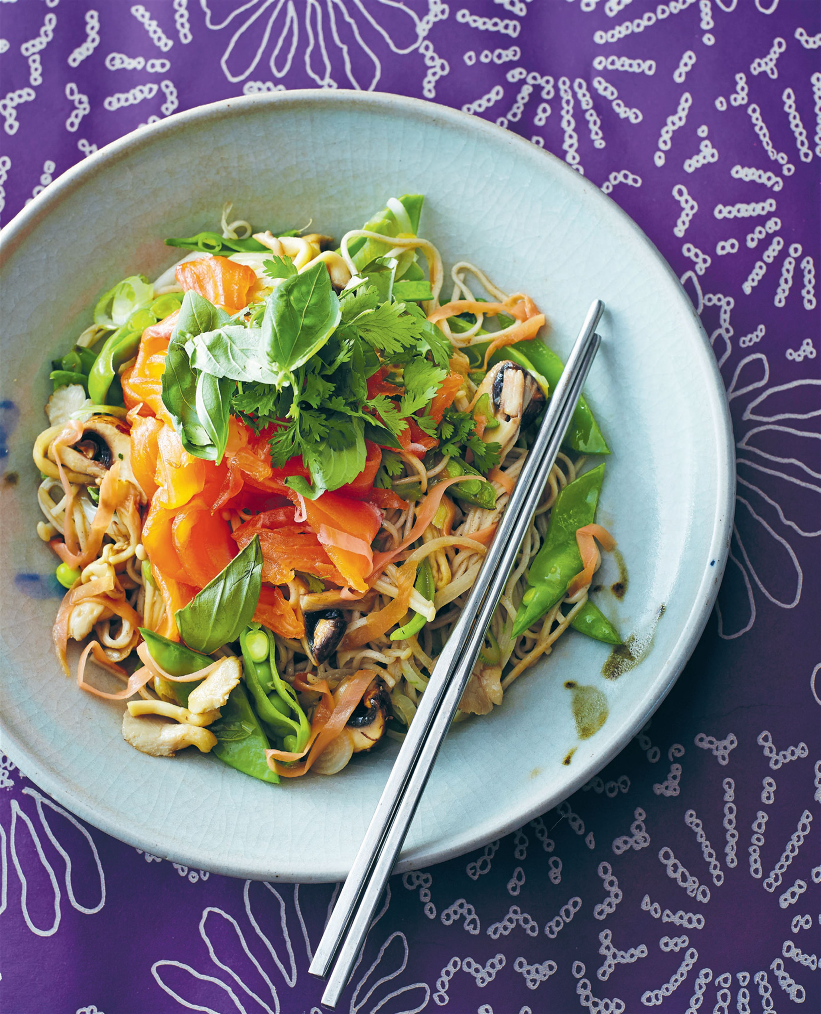 Quick-cured salmon with Japanese soba noodle salad