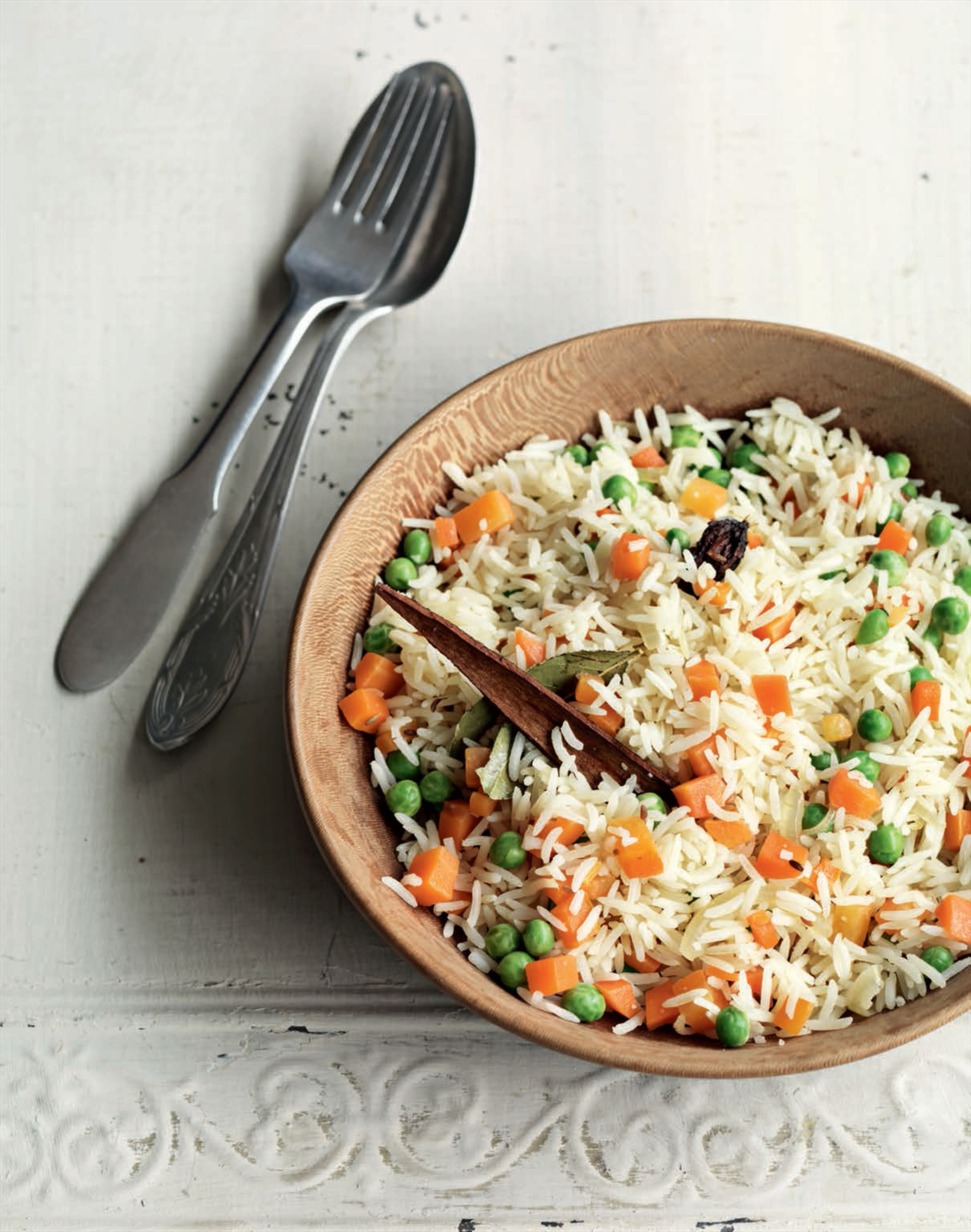 Pea and carrot pilaf
