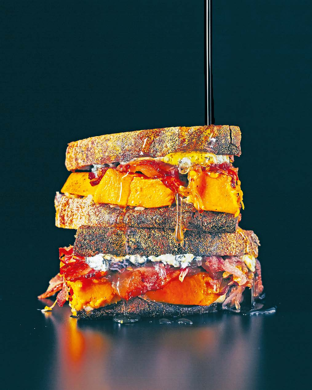 Gorgonzola, pumpkin, maple-cured bacon + caramelised onion with maple syrup