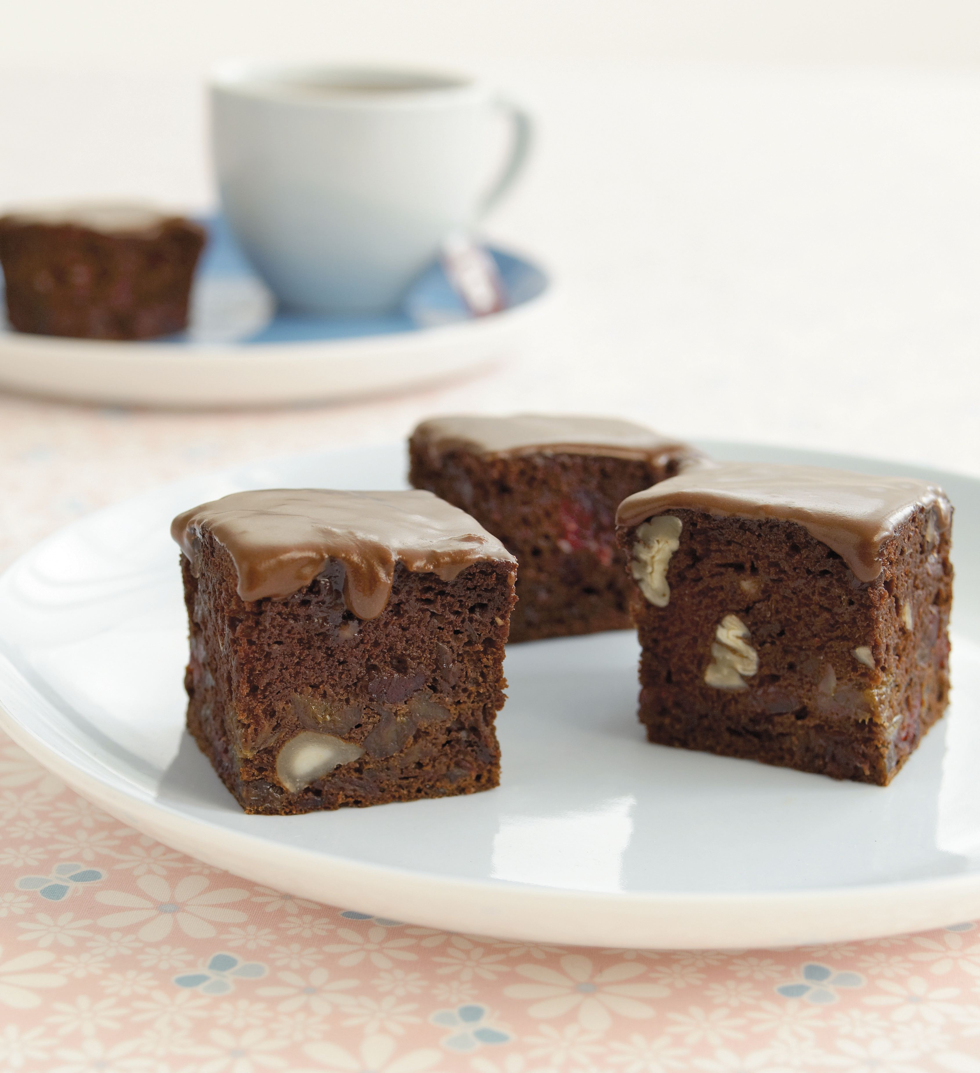 Date, prune and craisin brownie slice
