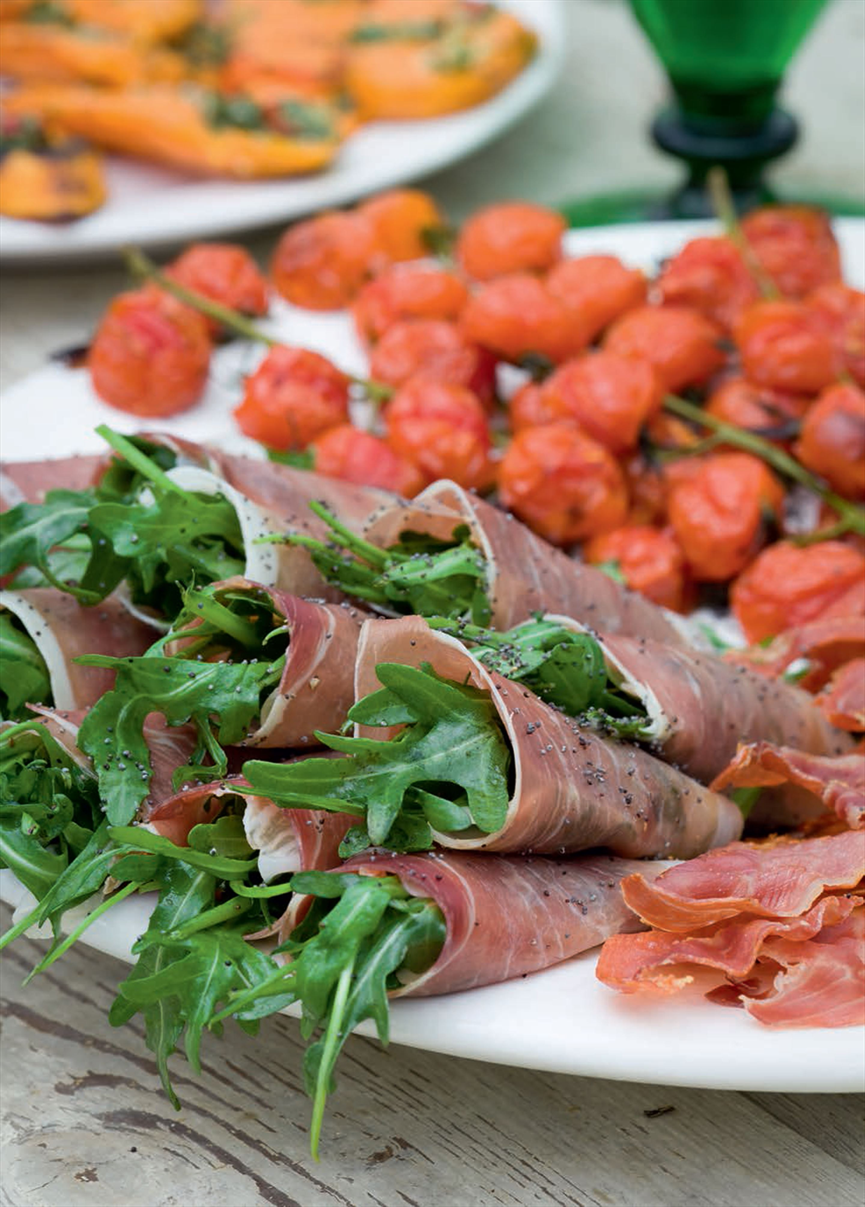 Prosciutto and rocket rolls
