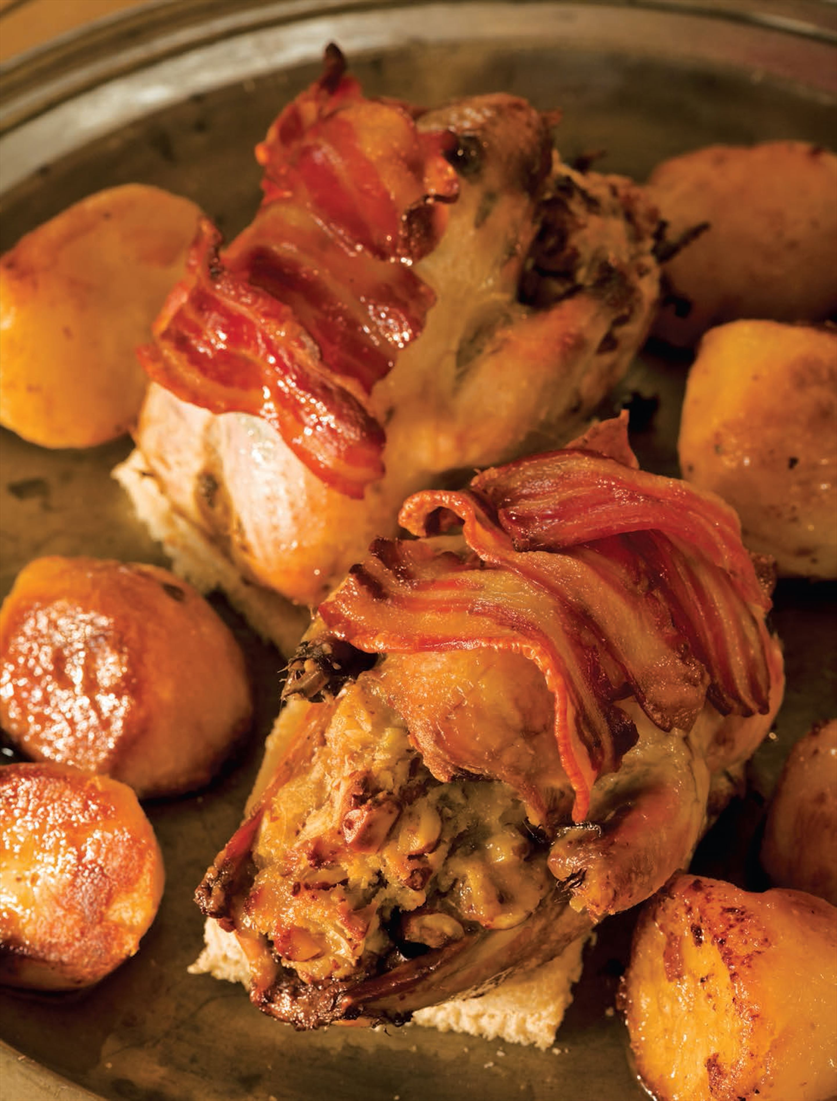 Roast partridge with cobnut stuffing