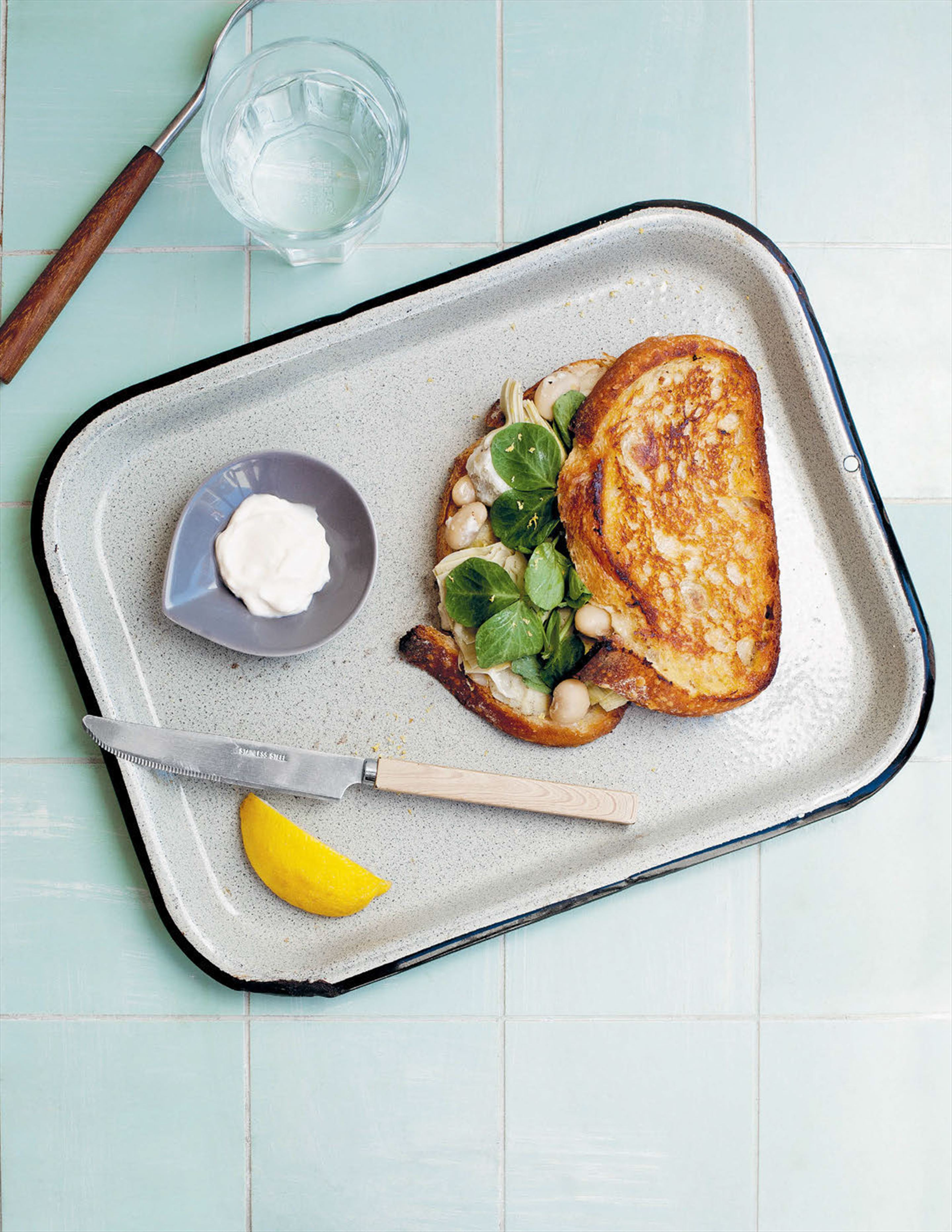 Artichoke, white bean and lemon toasted sandwiches