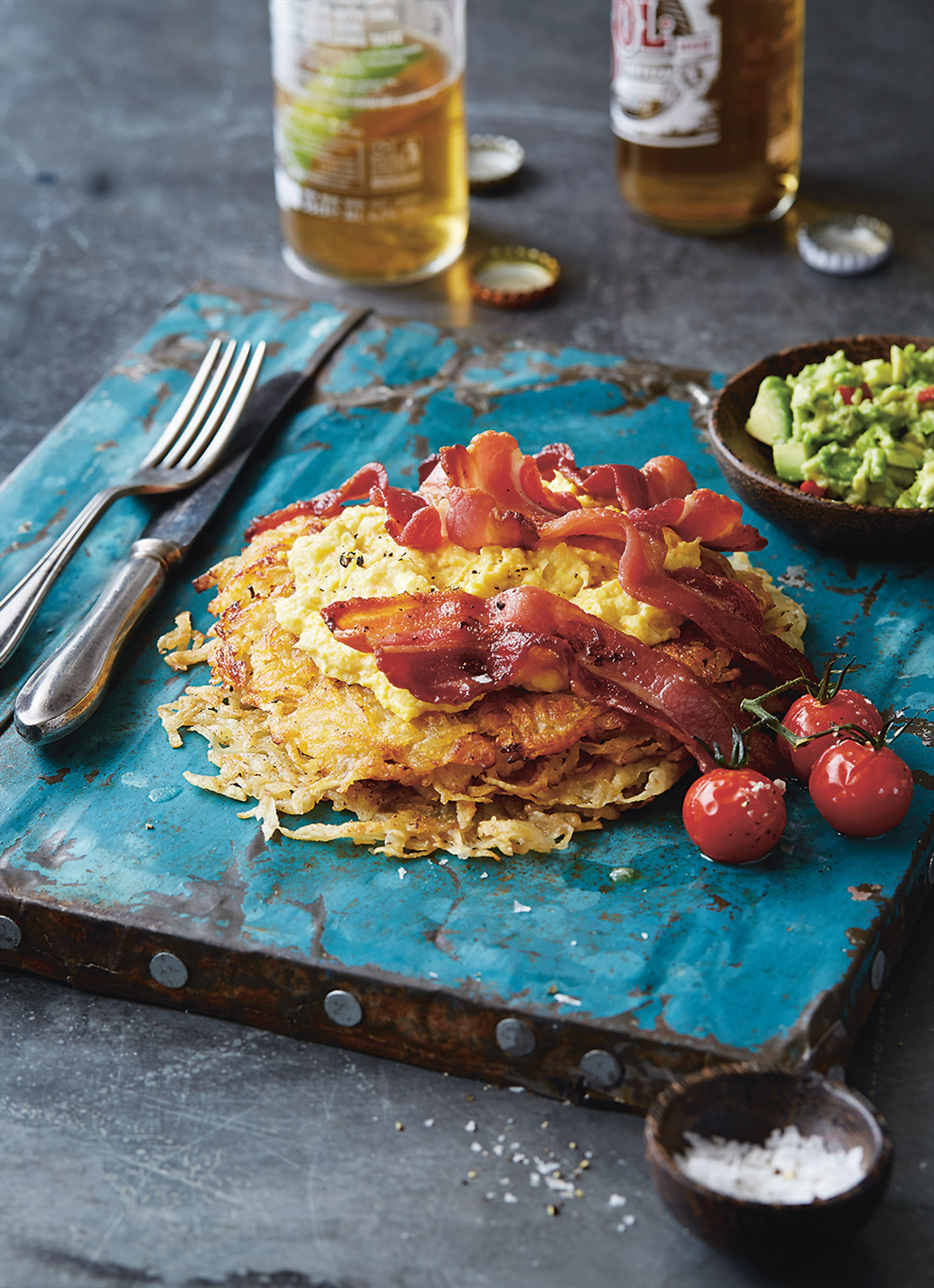 Streaky bacon with creamed corn on hash browns