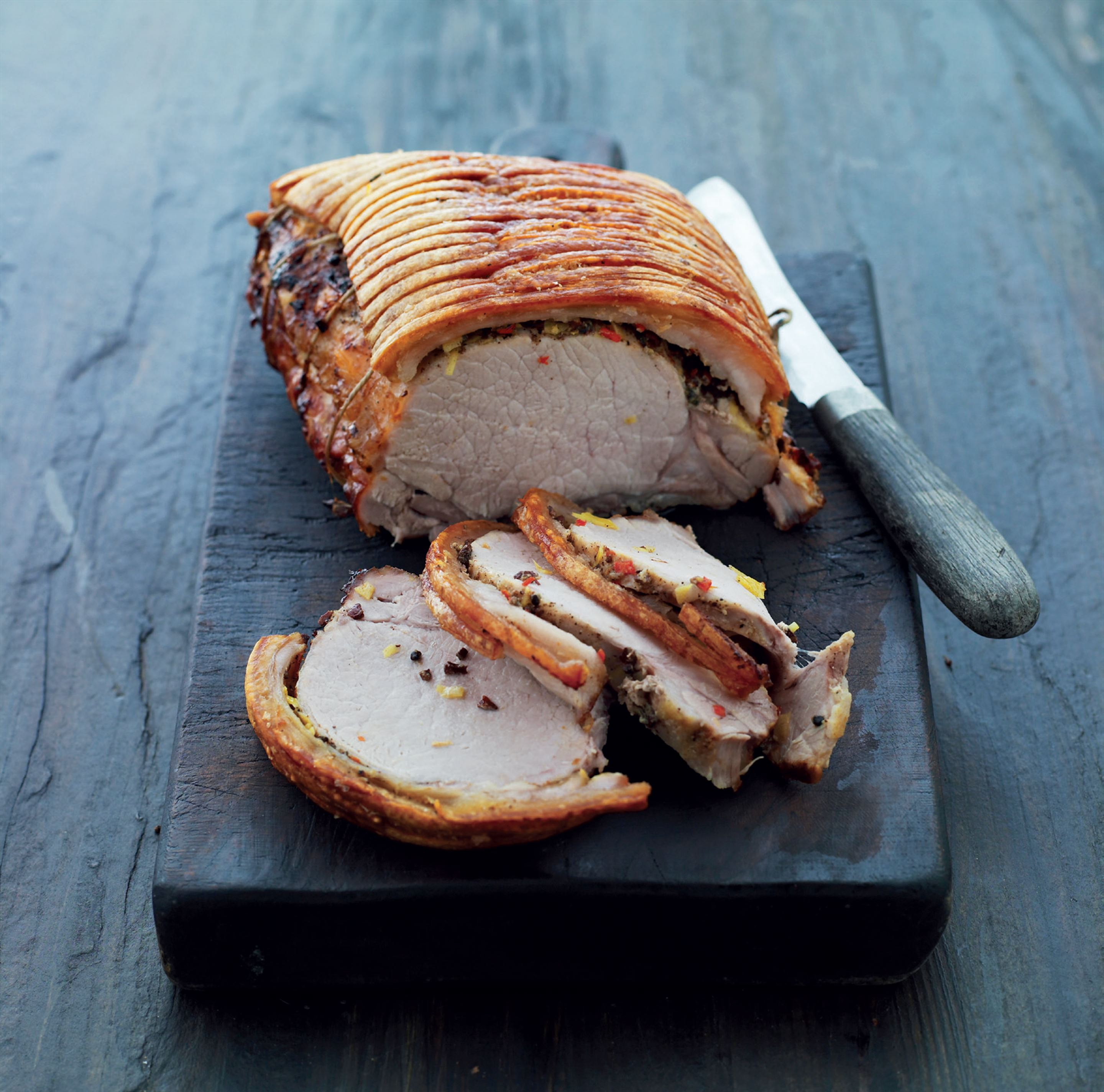 Roast pork with spices and crisp crackling