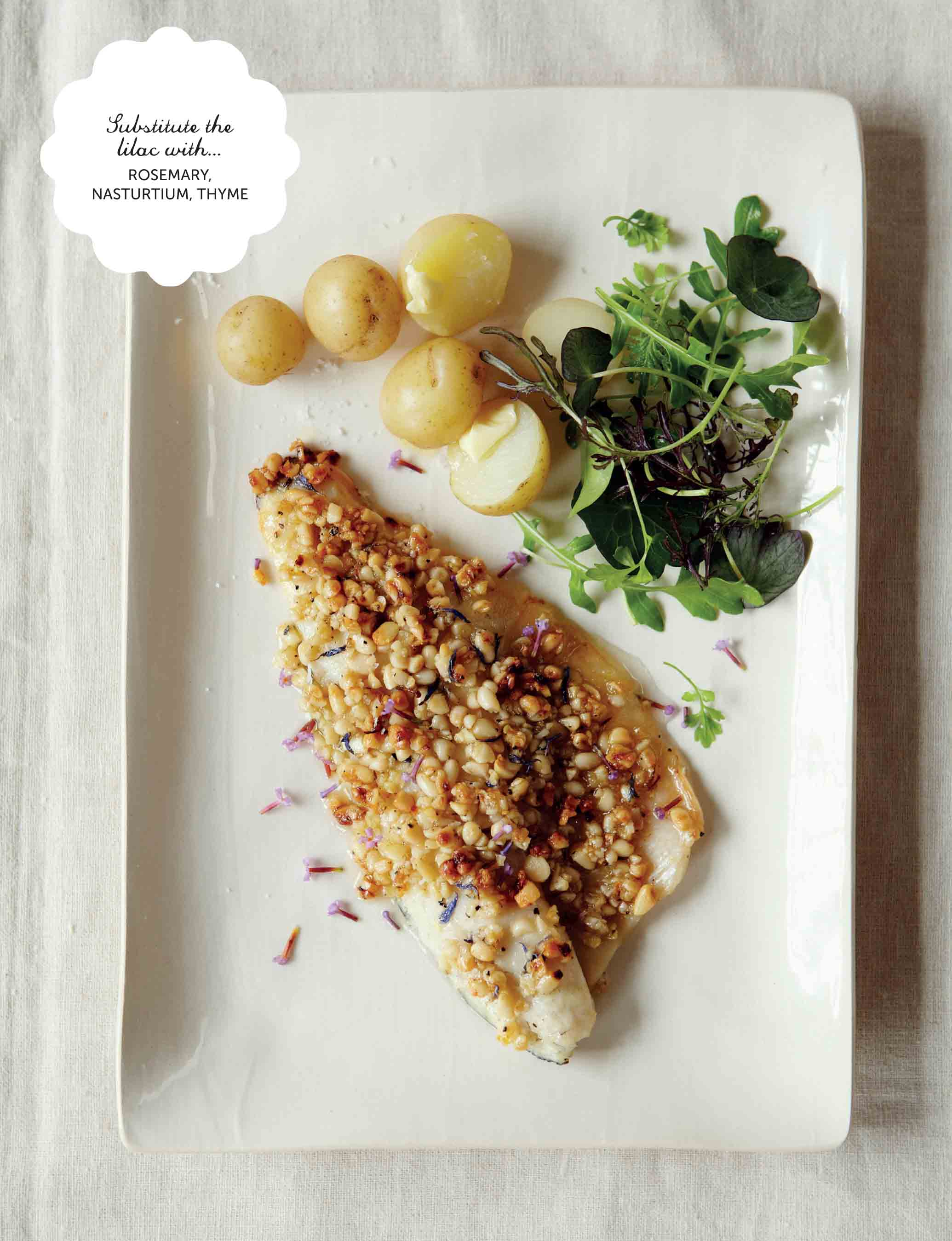 Honey and lilac topped sea bass steaks