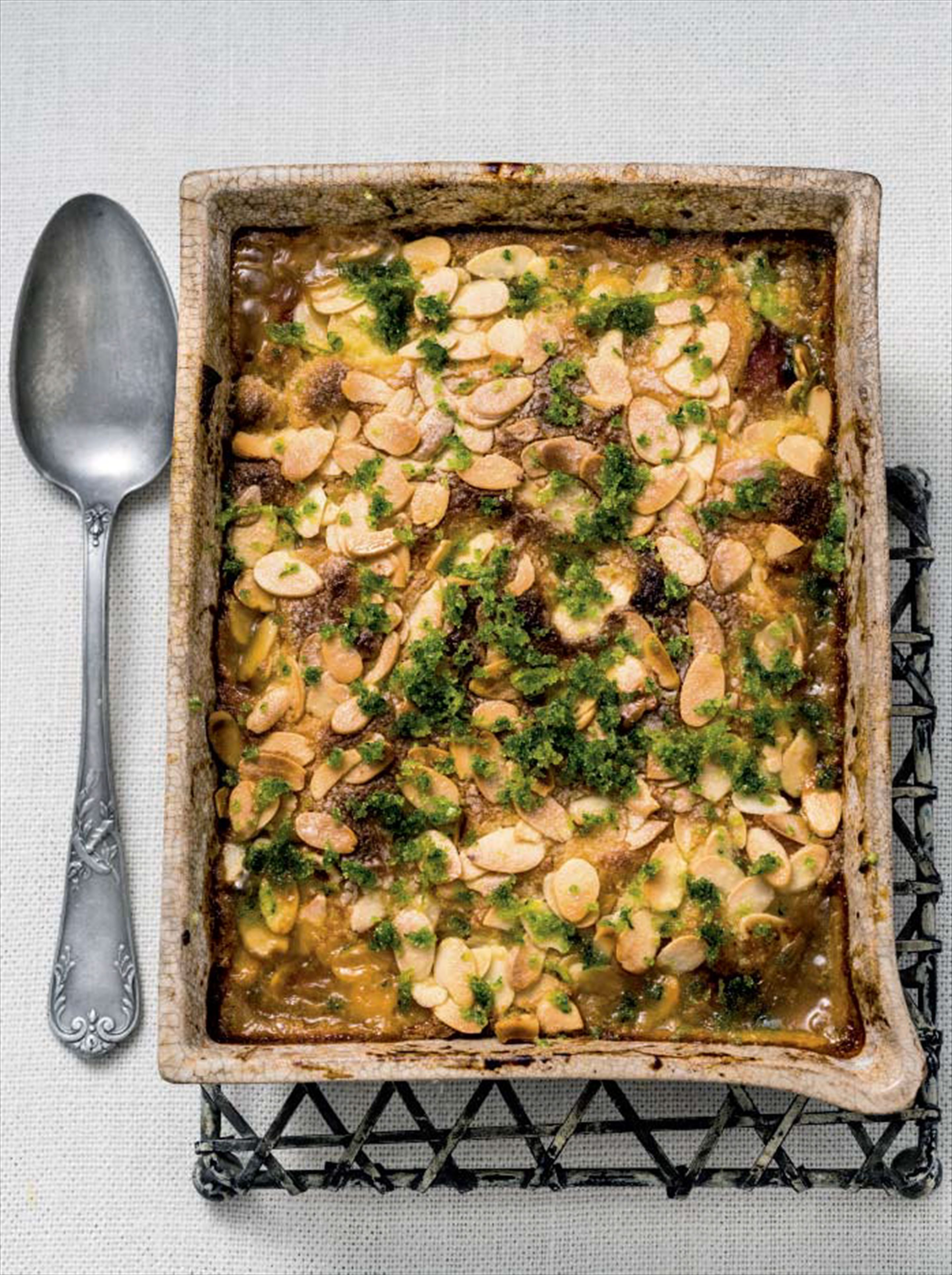 Peach & almond gratin with basil sugar