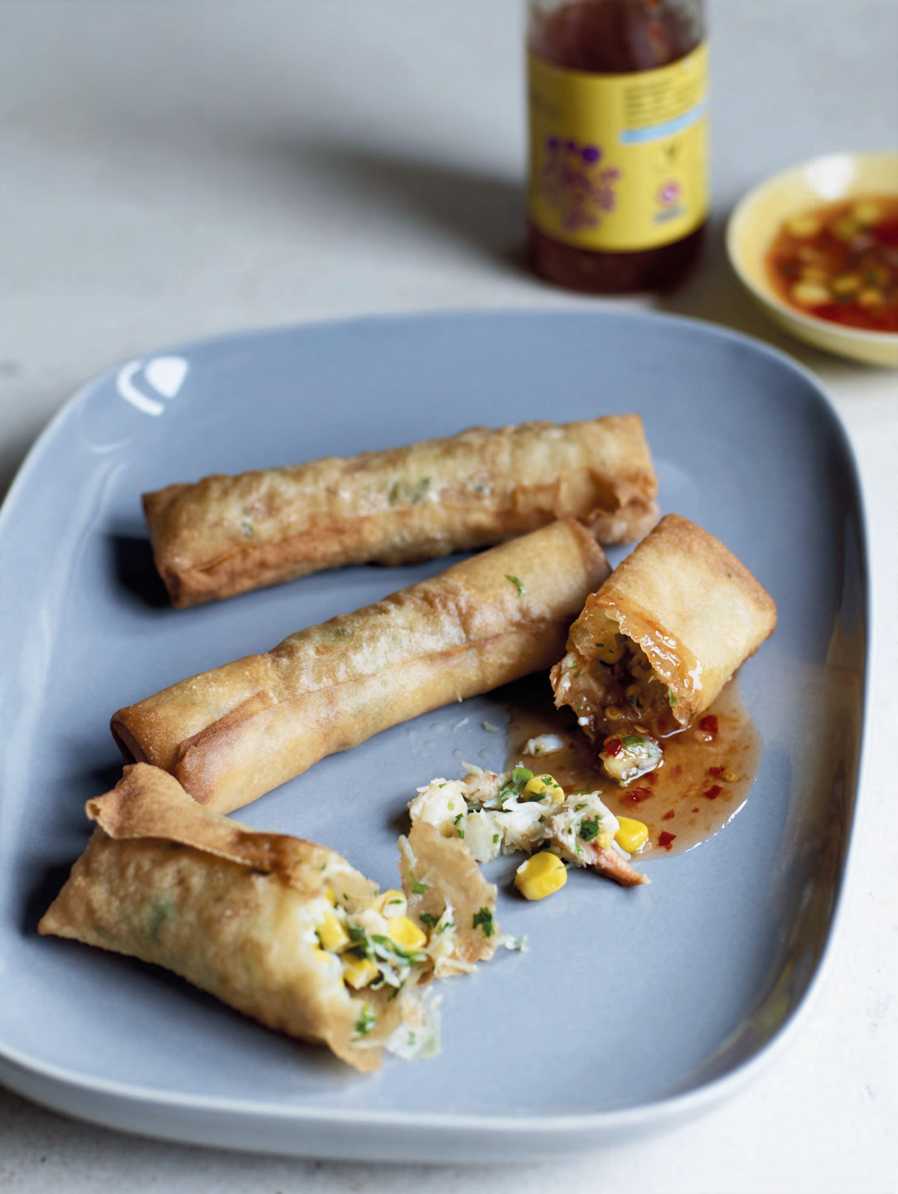 Crab & sweetcorn spring rolls with sweet chilli dipping sauce