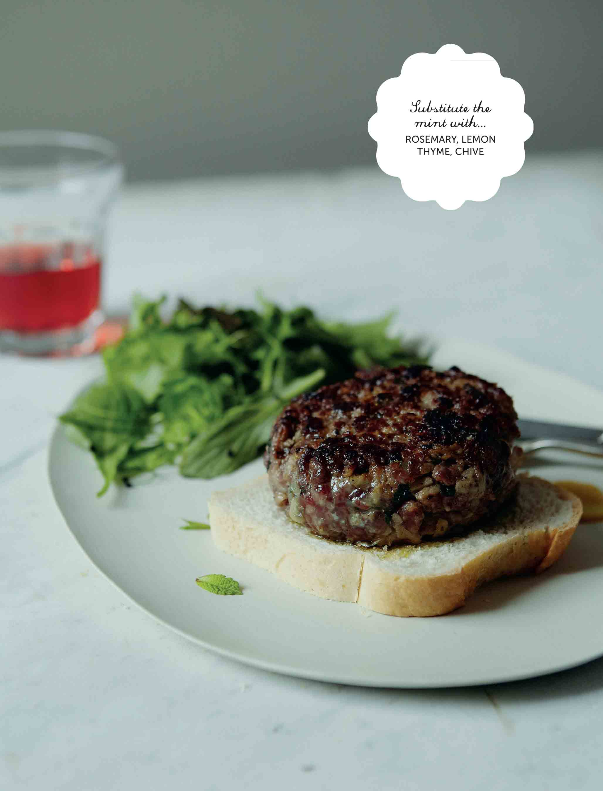 Lamb and mint burgers