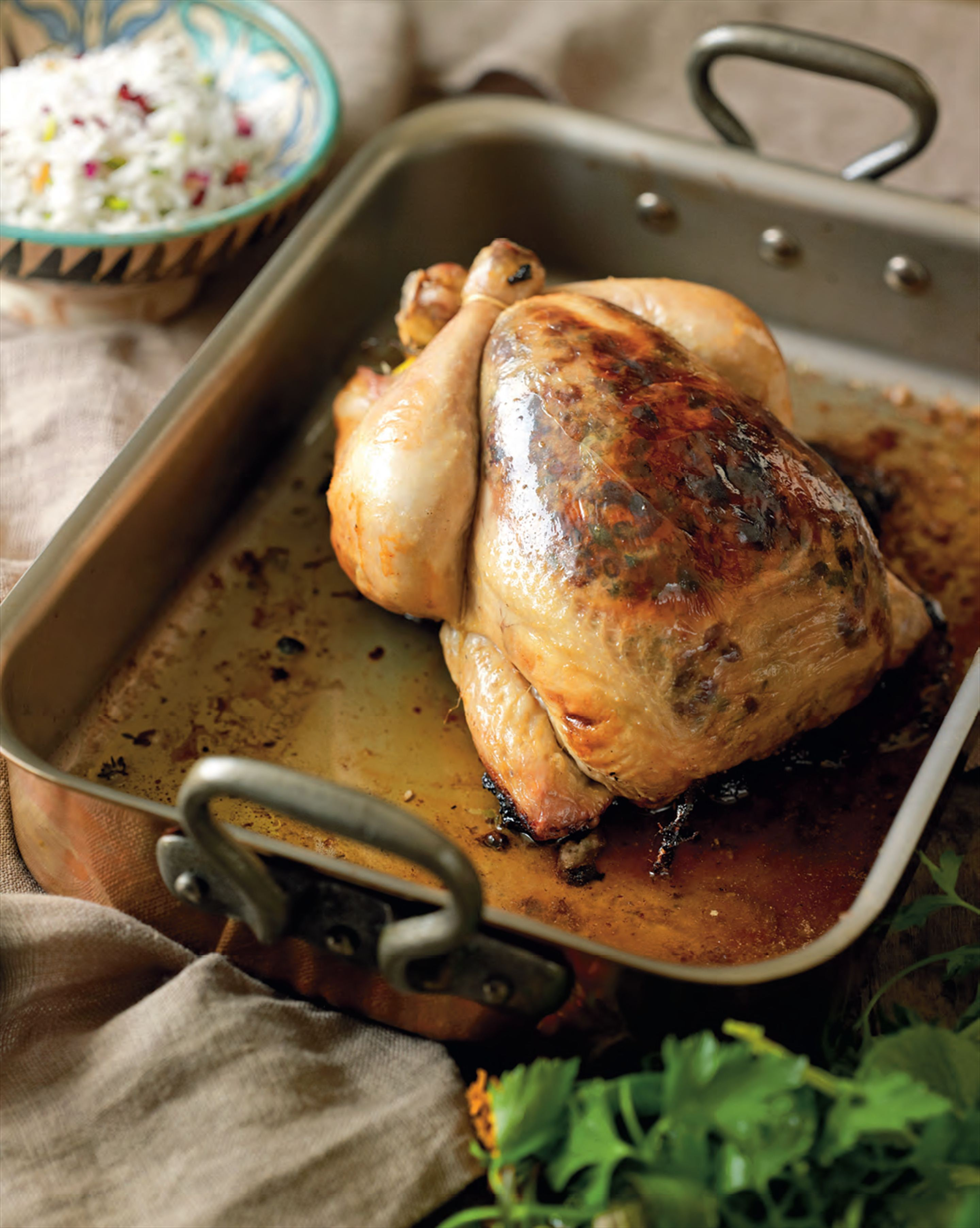 Chicken roasted with barberry butter