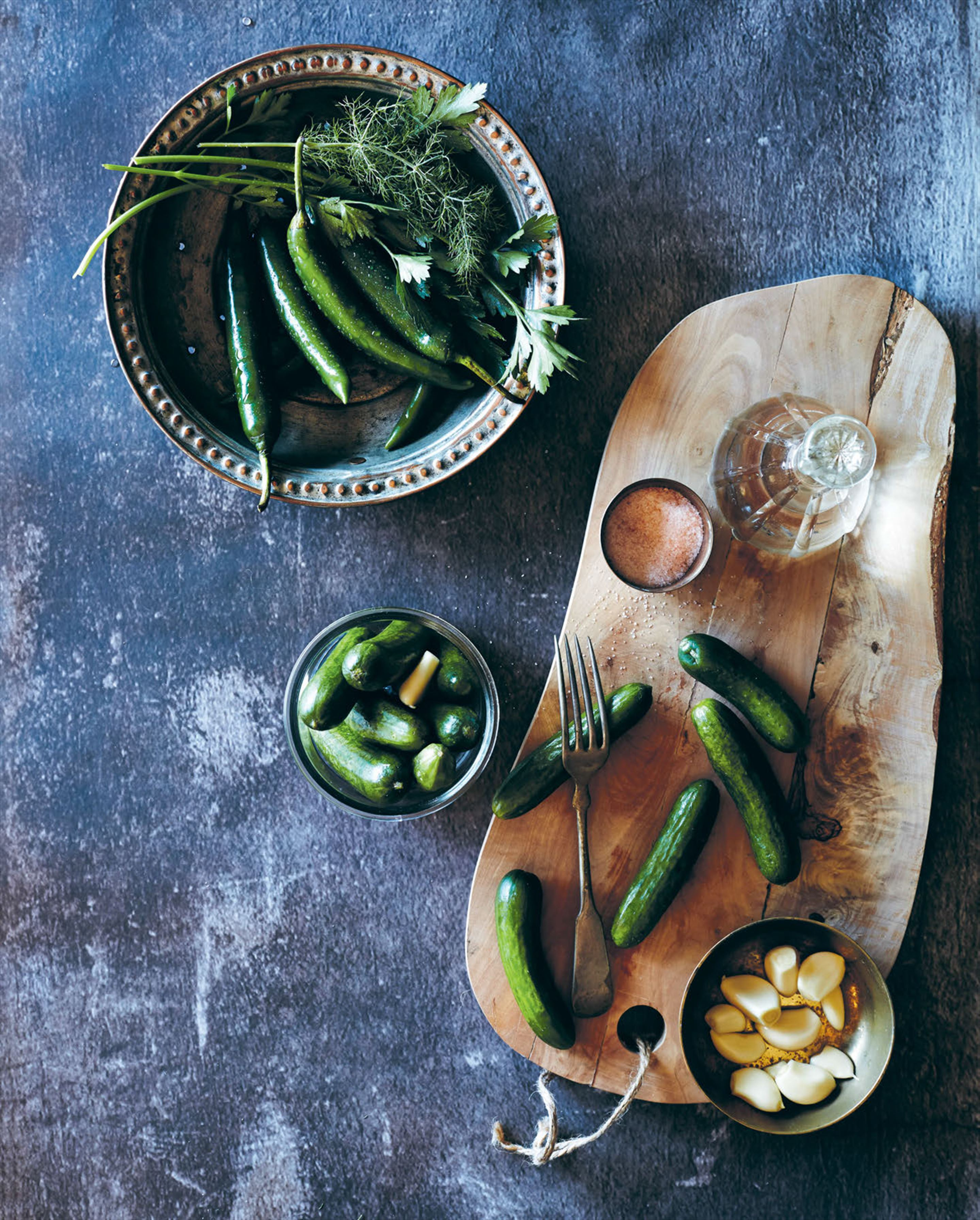 Pickled cucumbers & green chillies