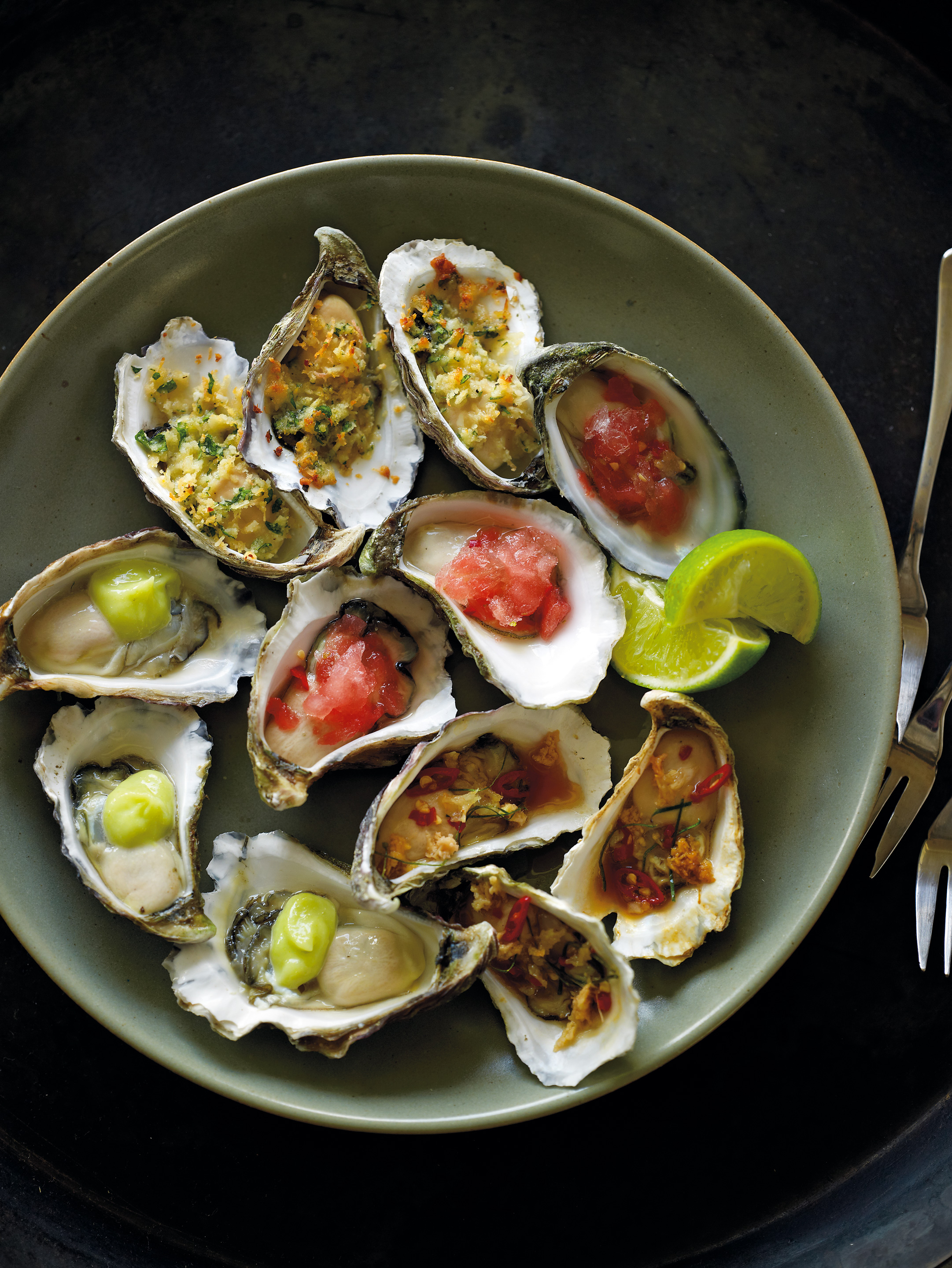Oysters with chardonnay and spicy watermelon