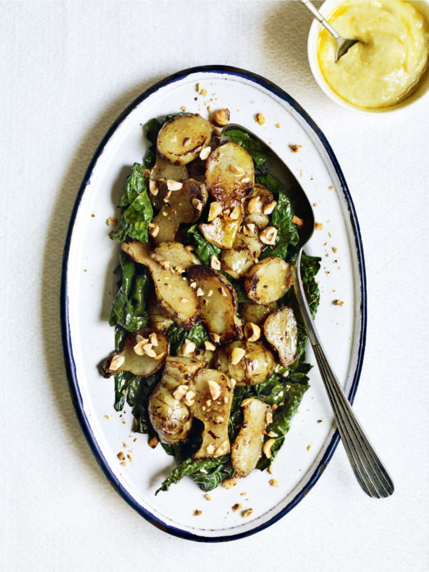 Jerusalem artichokes and cavolo nero with garlic