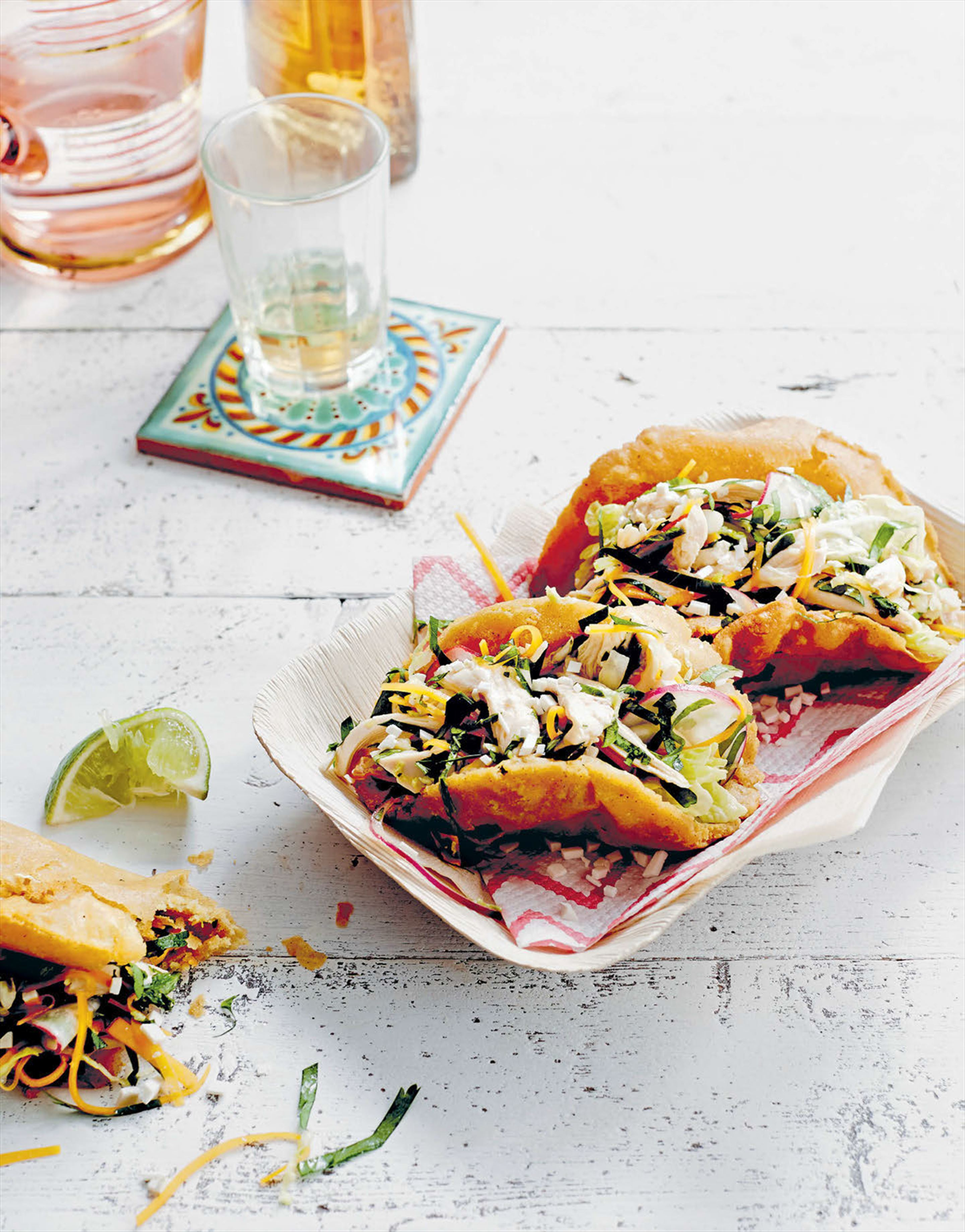 Puffy tacos, napa chicken salad & tomatillo verde
