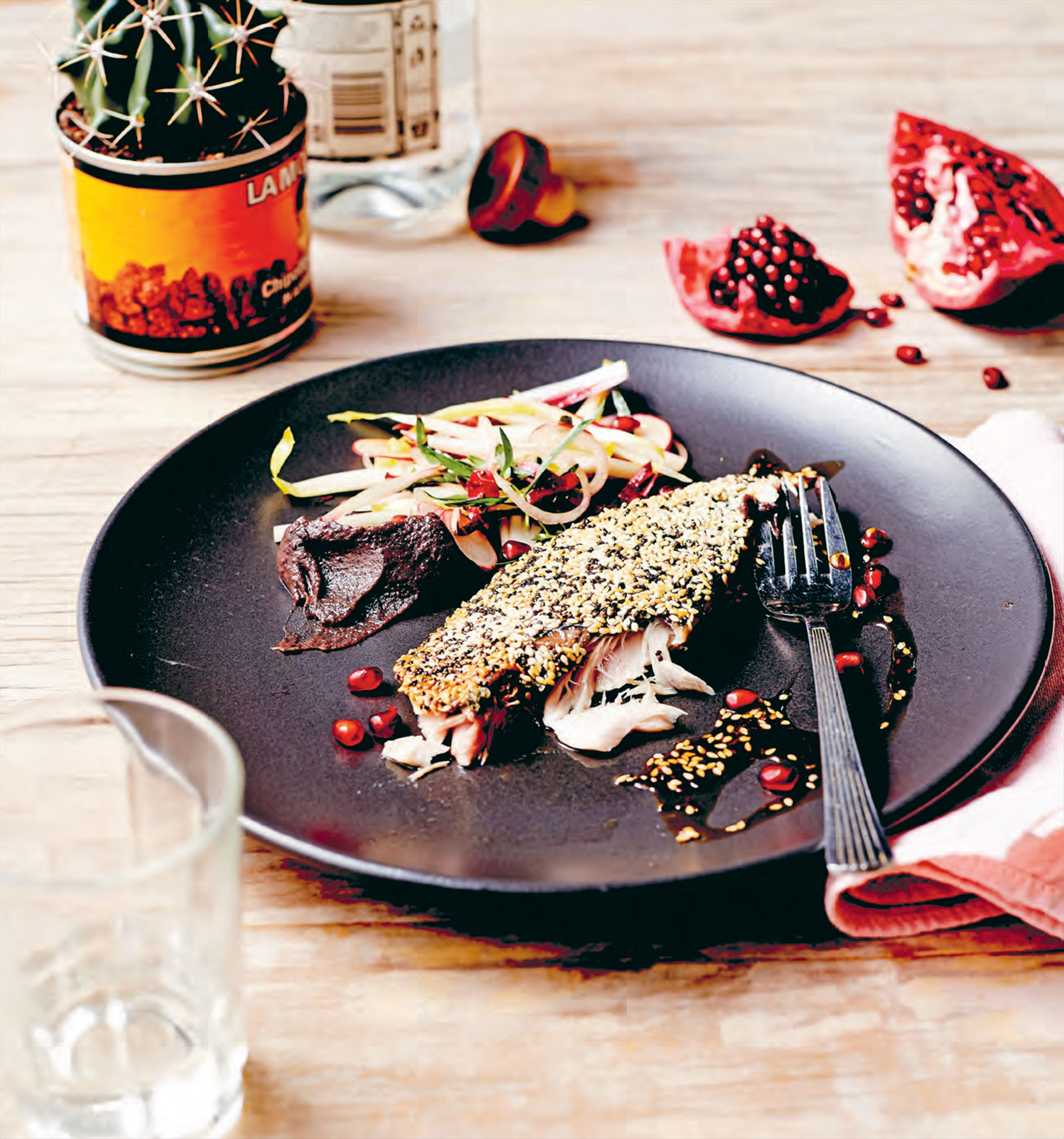 Chia-crusted mackerel with pomegranate mojo