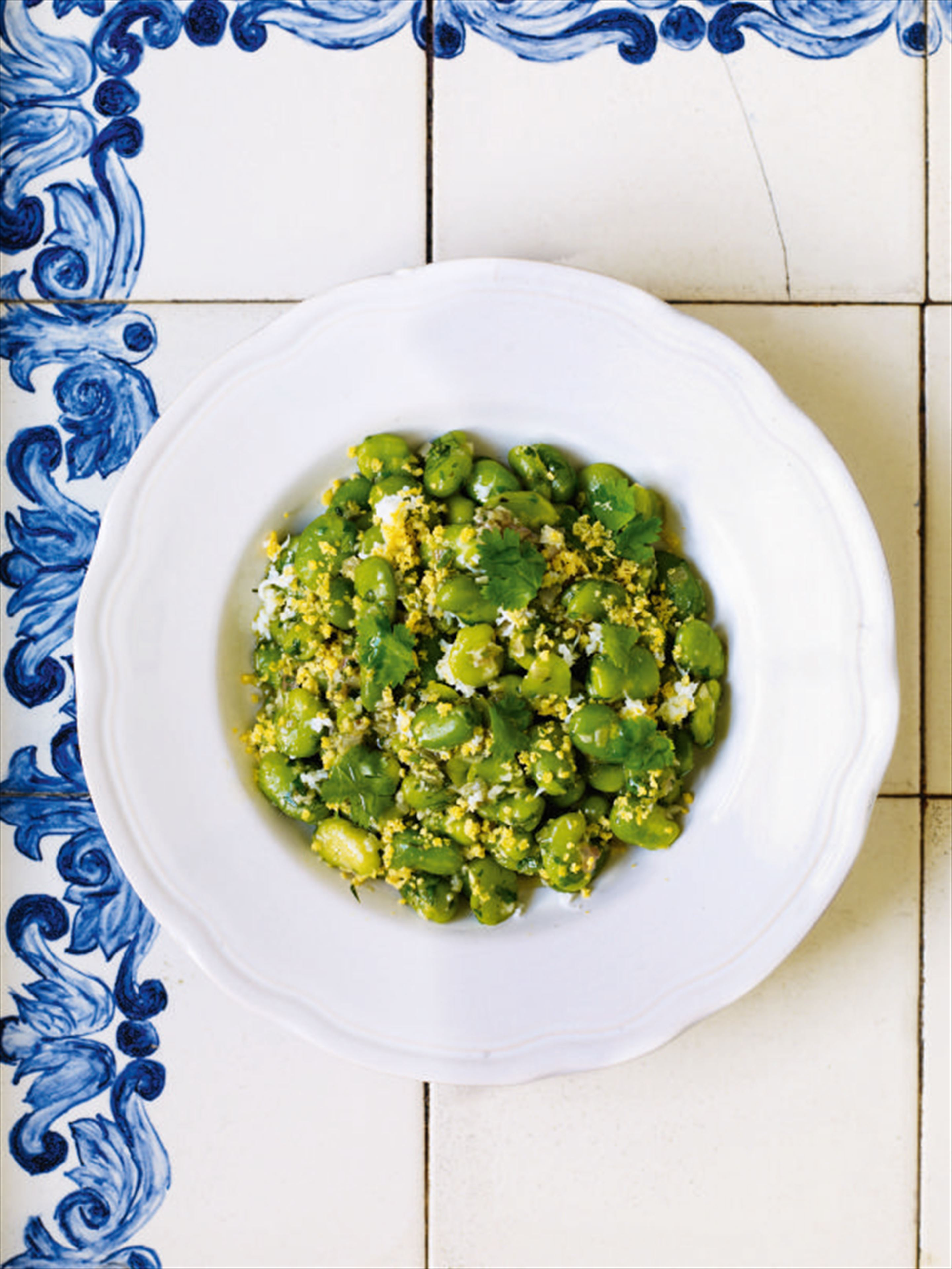 Coriander-marinated broad beans