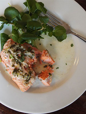 Keith Floyd's salmon escalopes with watercress
