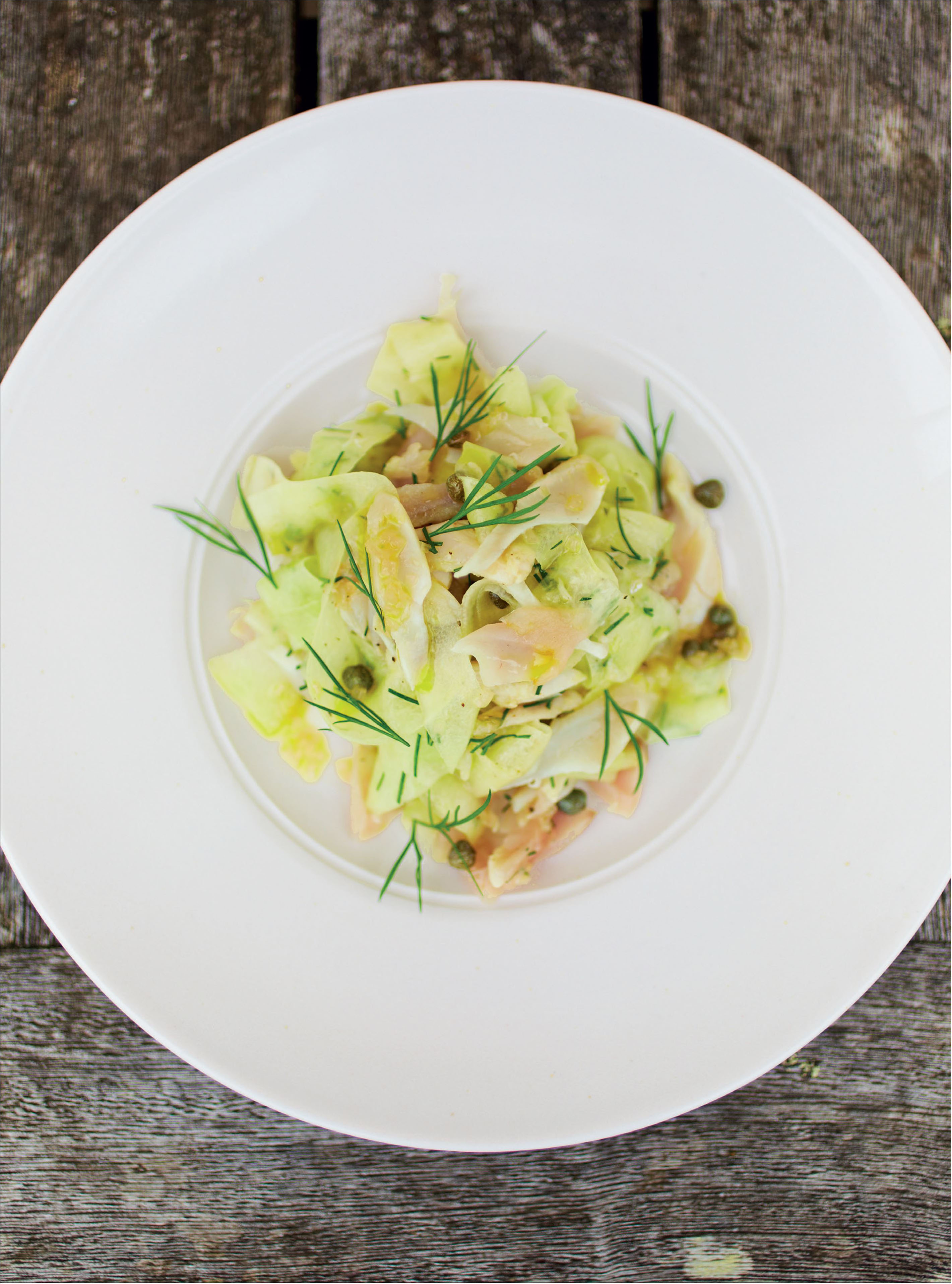 Mackerel cured in cucumber and oyster juice with cucumber, dill and caper salad