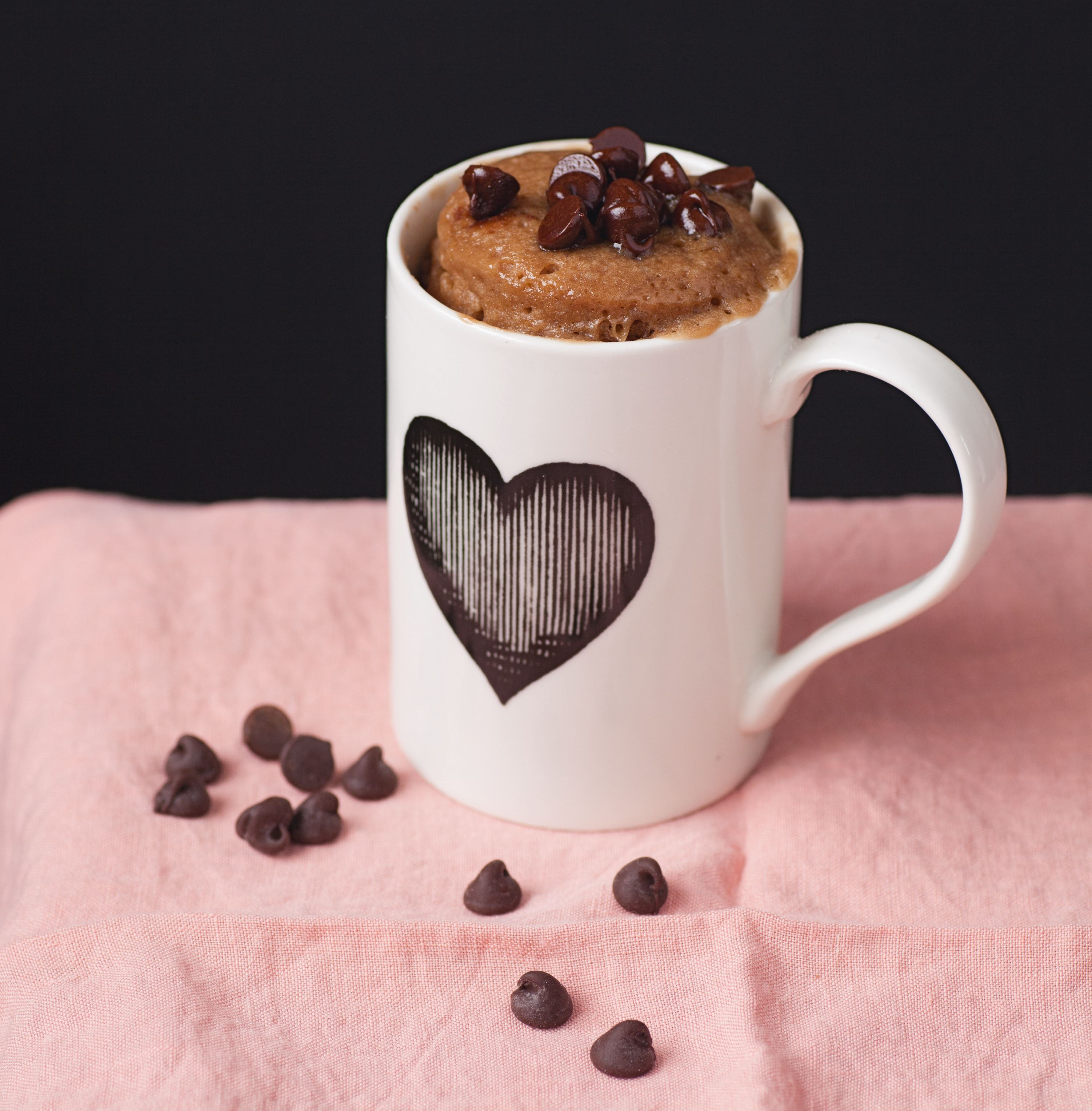 Milk chocolate mug cake with dark chocolate chips