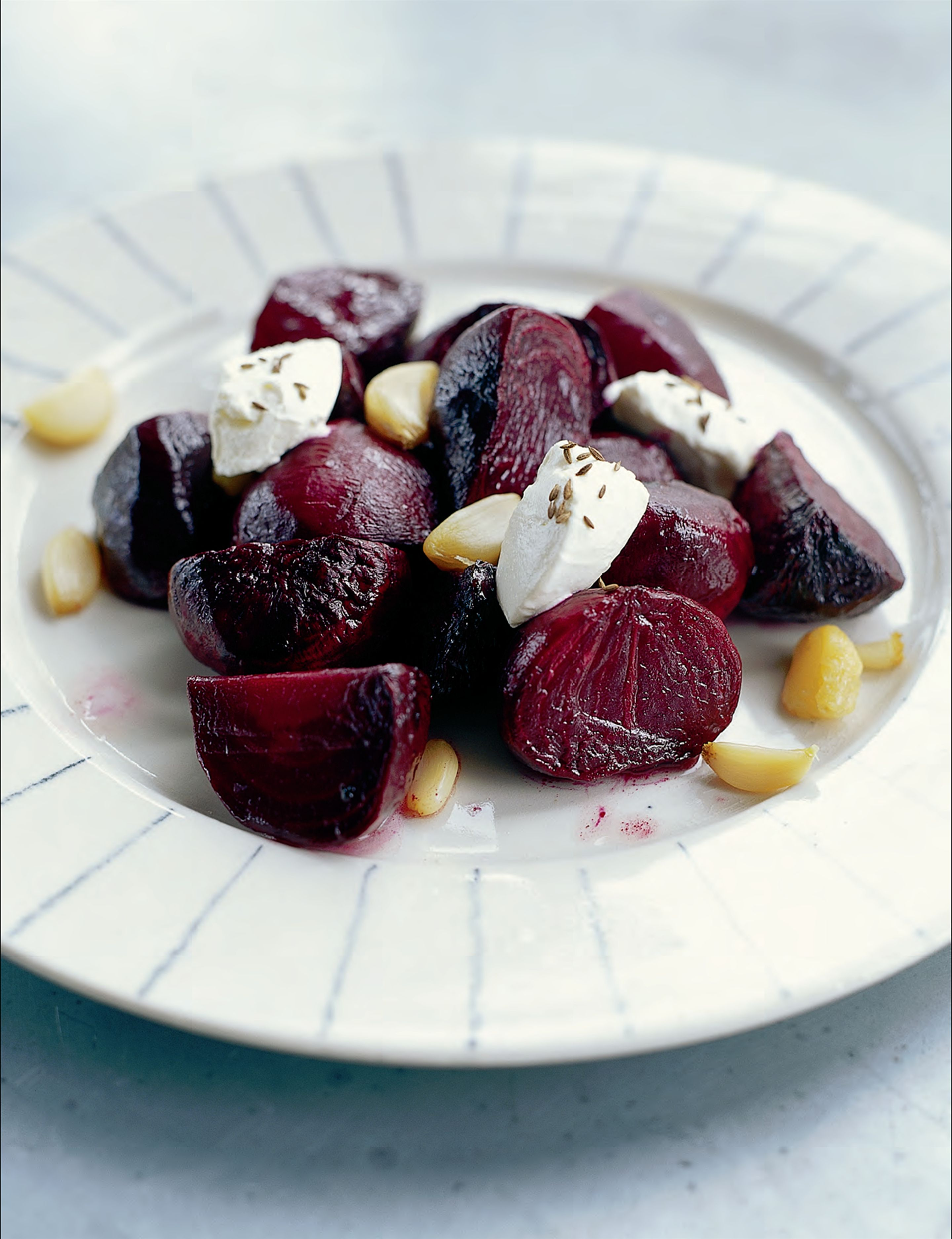 Roasted beetroot salad with garlic and labne