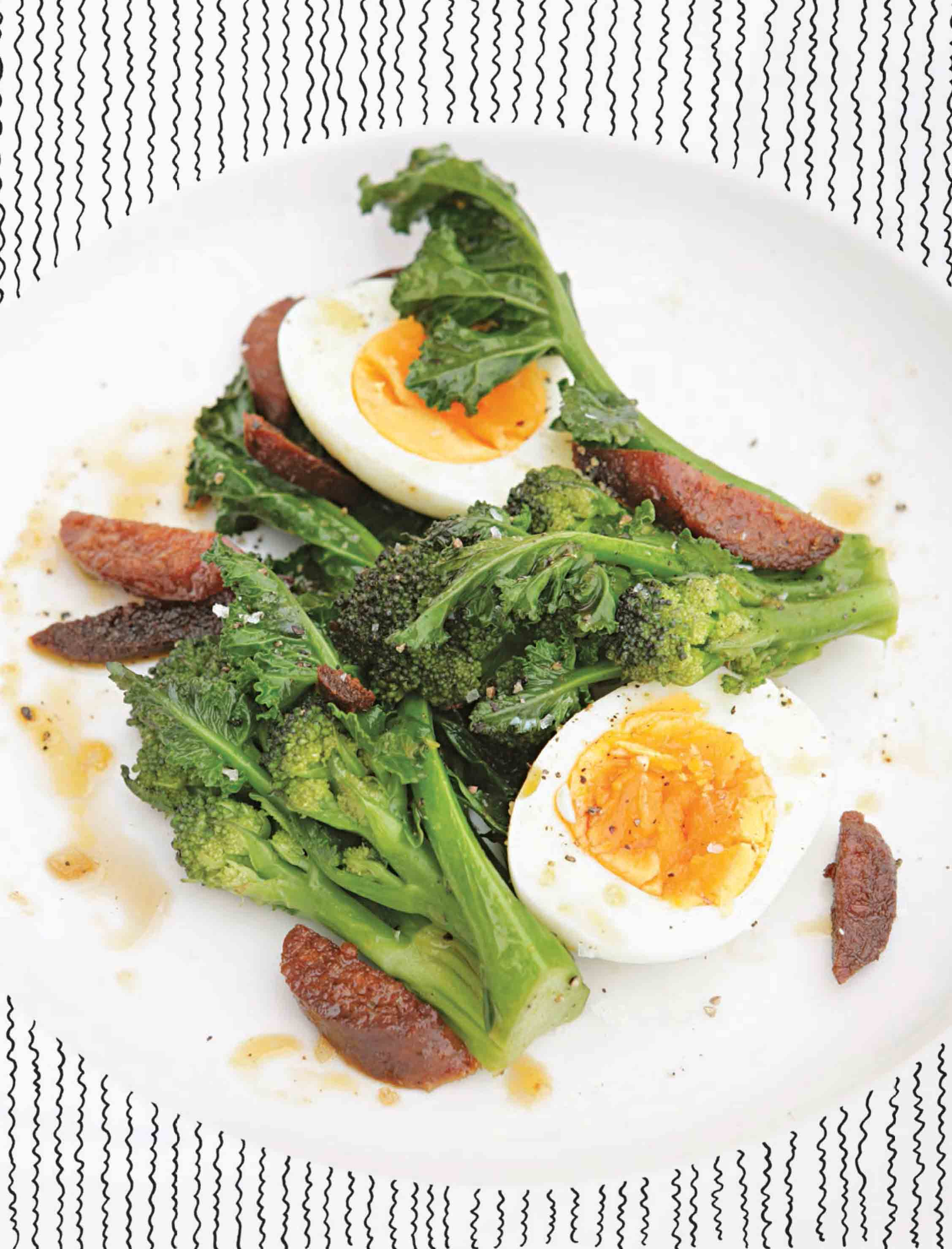PSB with chorizo and soft-hard-boiled eggs